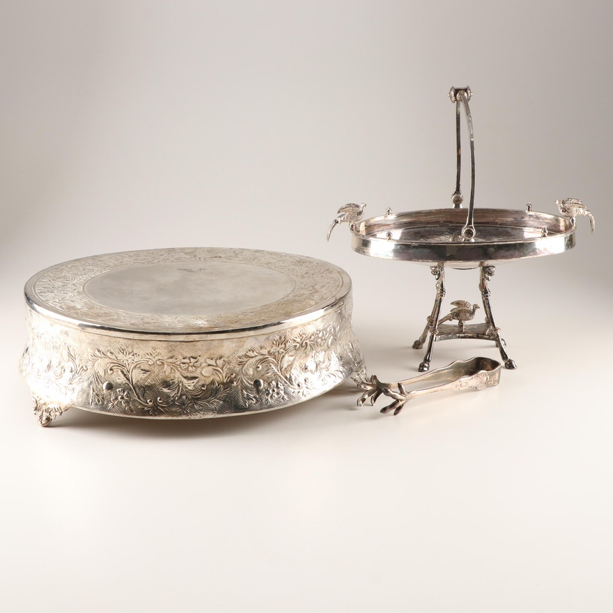 Silver Plated Bride's Basket, Ice Tongs, and Cake Stand Featuring Reed & Barton