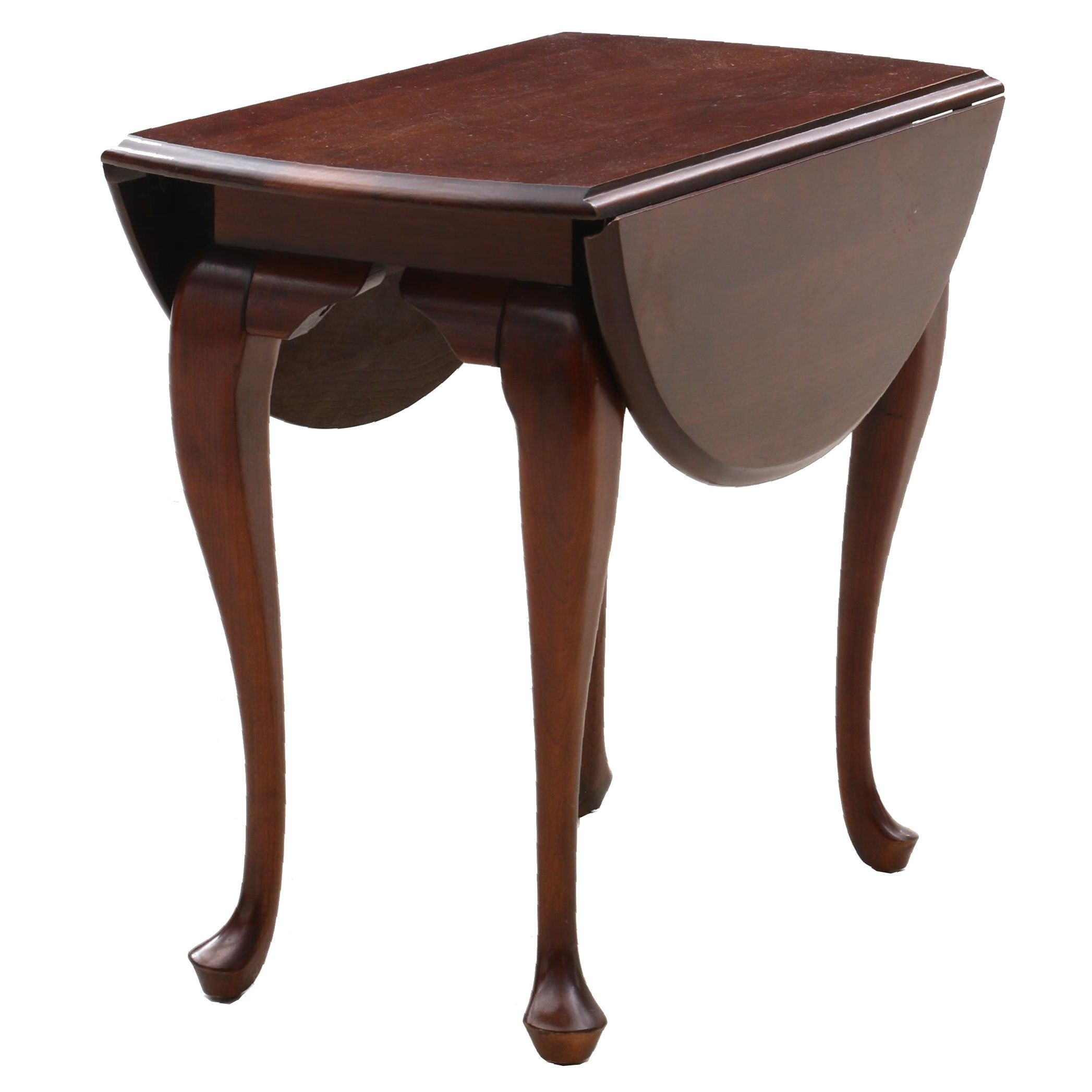 Queen Anne Style Cherry Drop-Leaf Table, Late 20th Century
