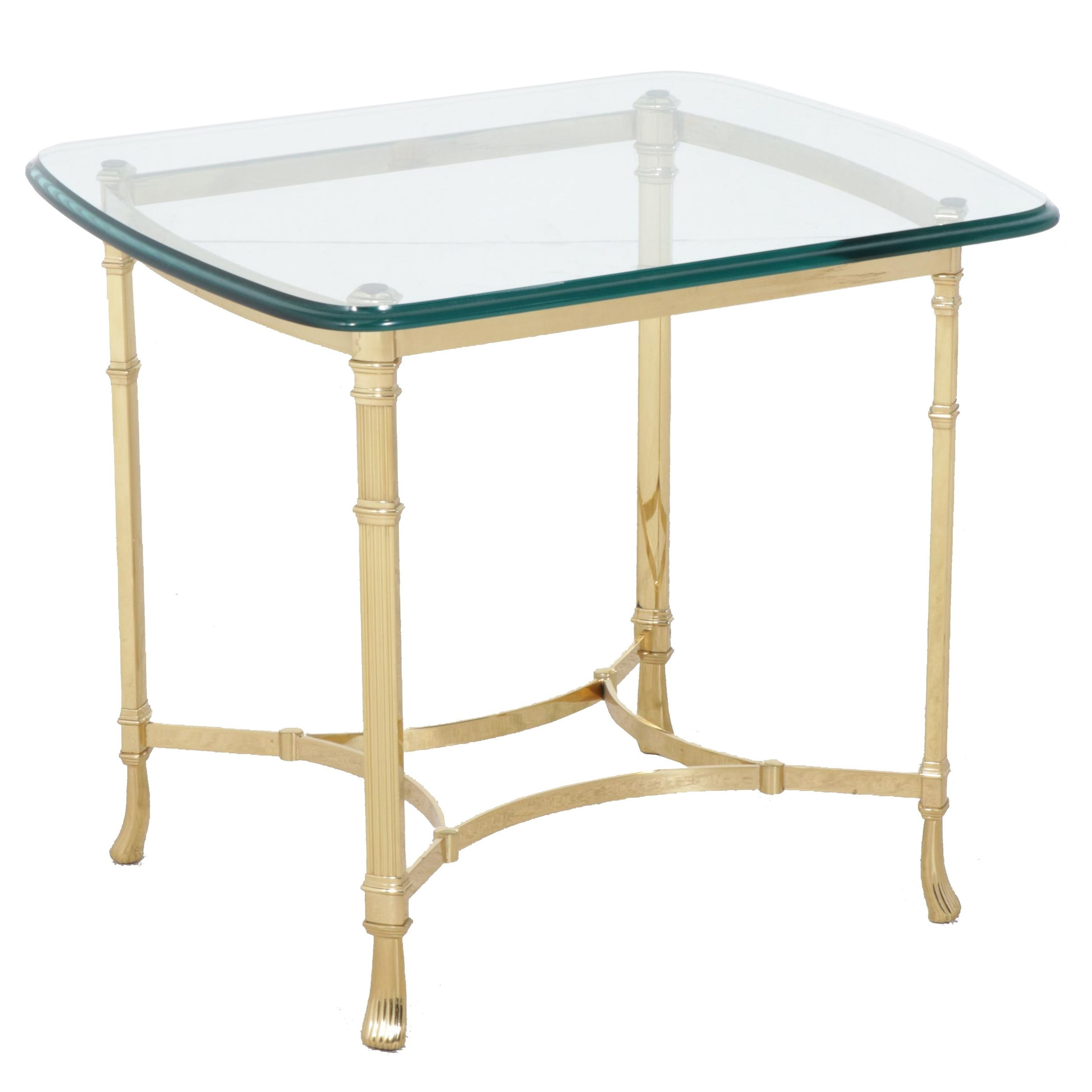 Contemporary Harden Glass Top Brass Frame Side Table