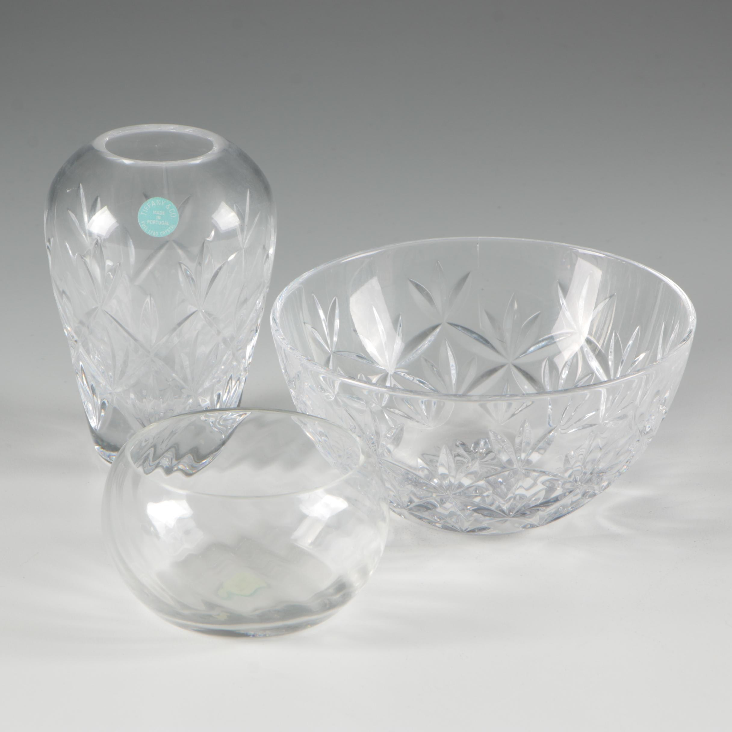 Tiffany & Co. Crystal Bud Vase and Bowls