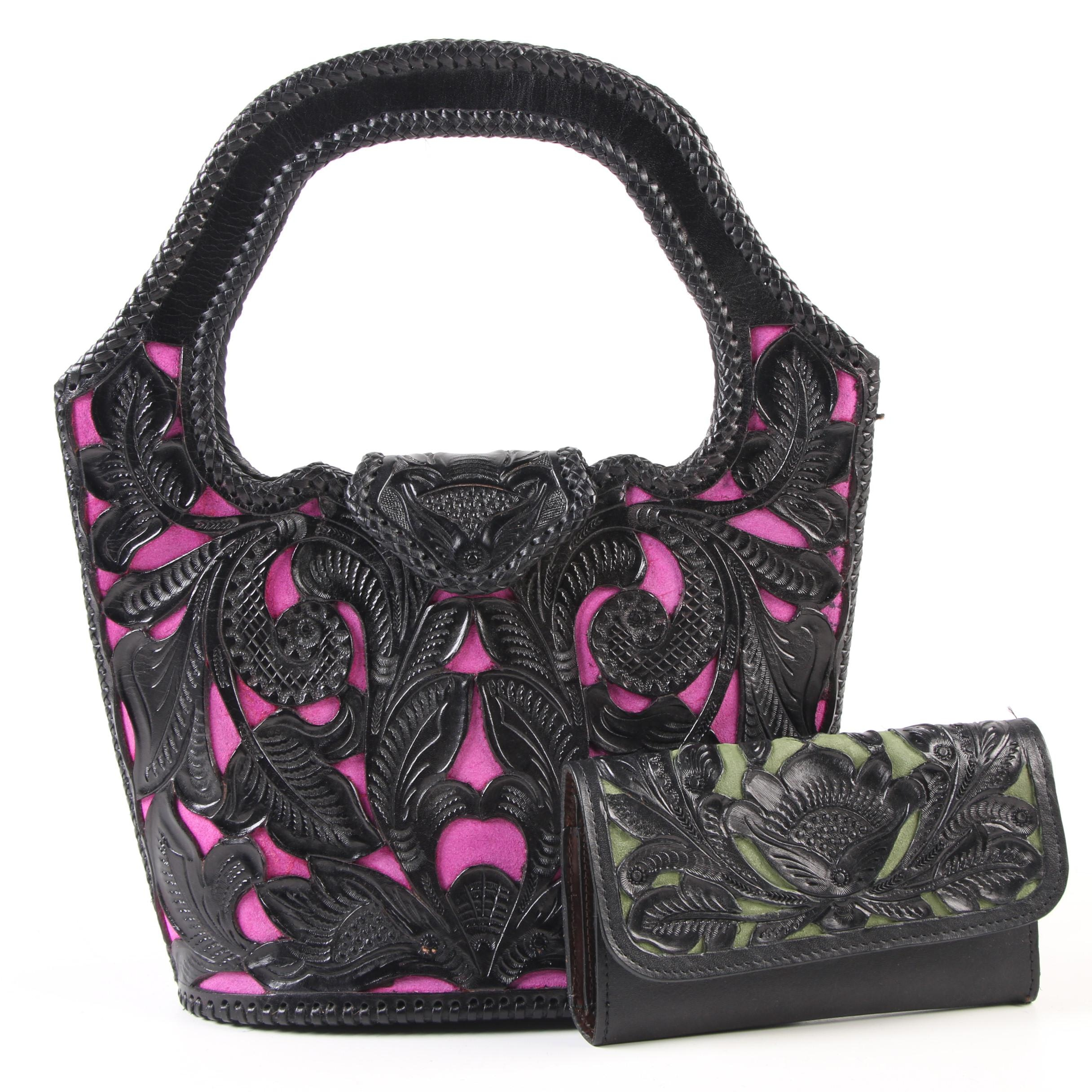 Handbag and Wallet with Openwork Tooled Black Leather and Suede