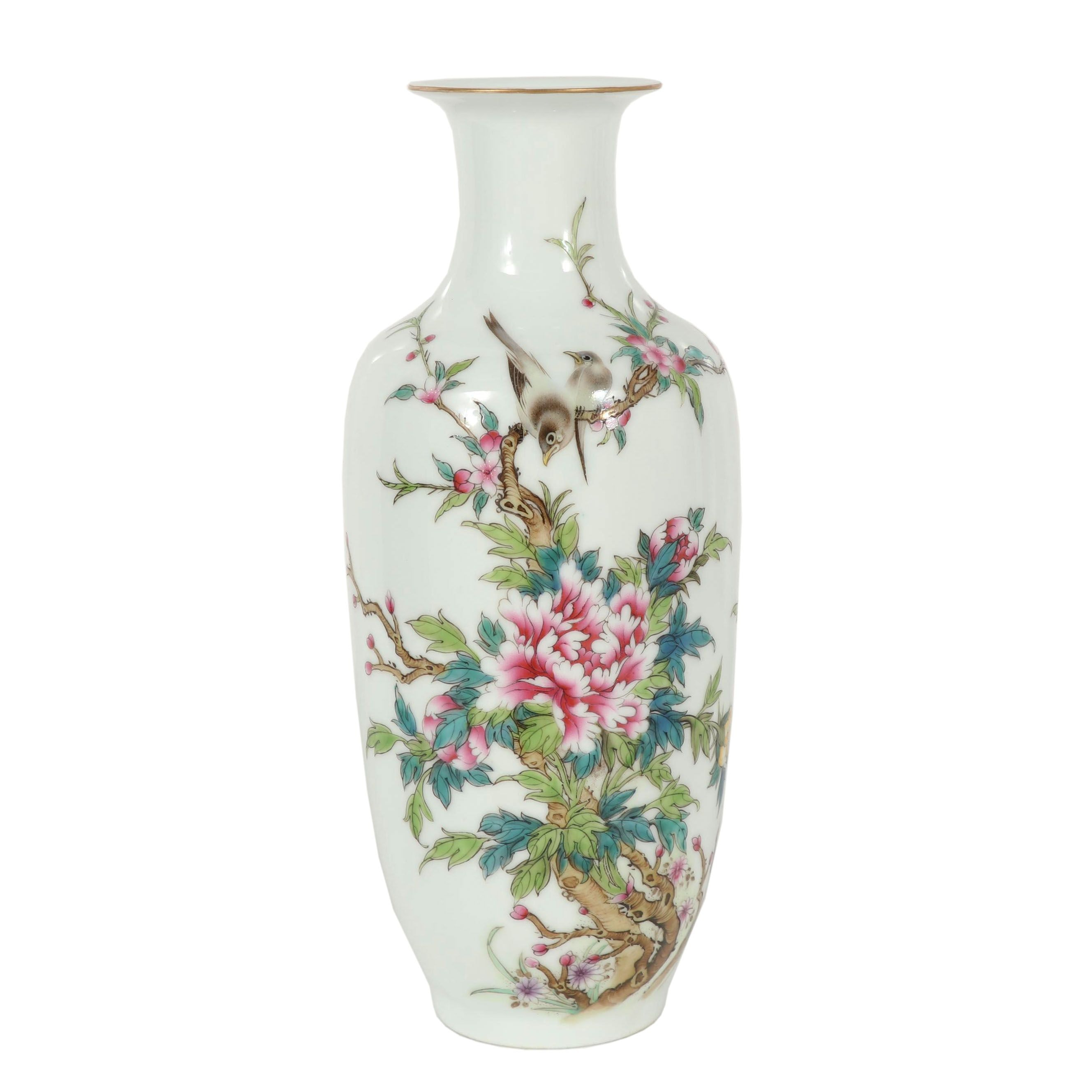 Chinese Hand-Painted Famille Rose Porcelain Vase