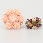 Sterling Silver Carved Coral and Gemstone Rings