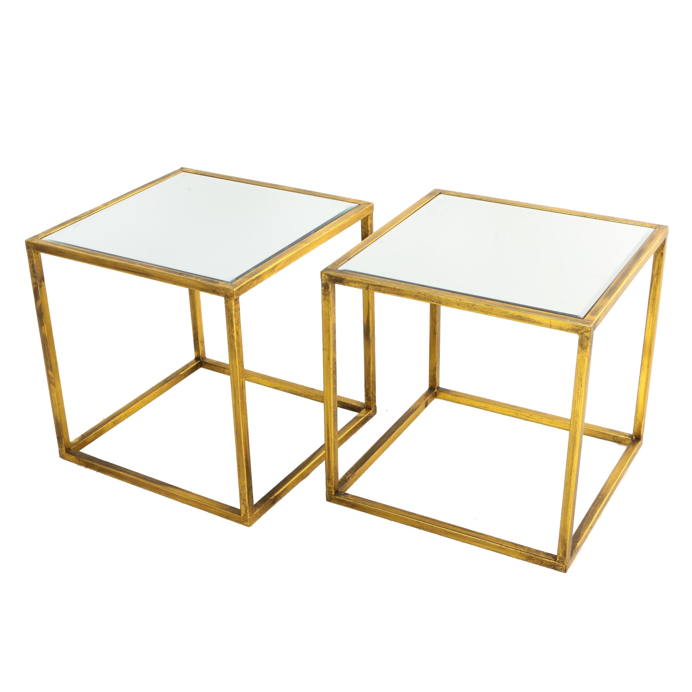 Pair of Contemporary Gilt-Metal and Mirror-Topped Side Tables
