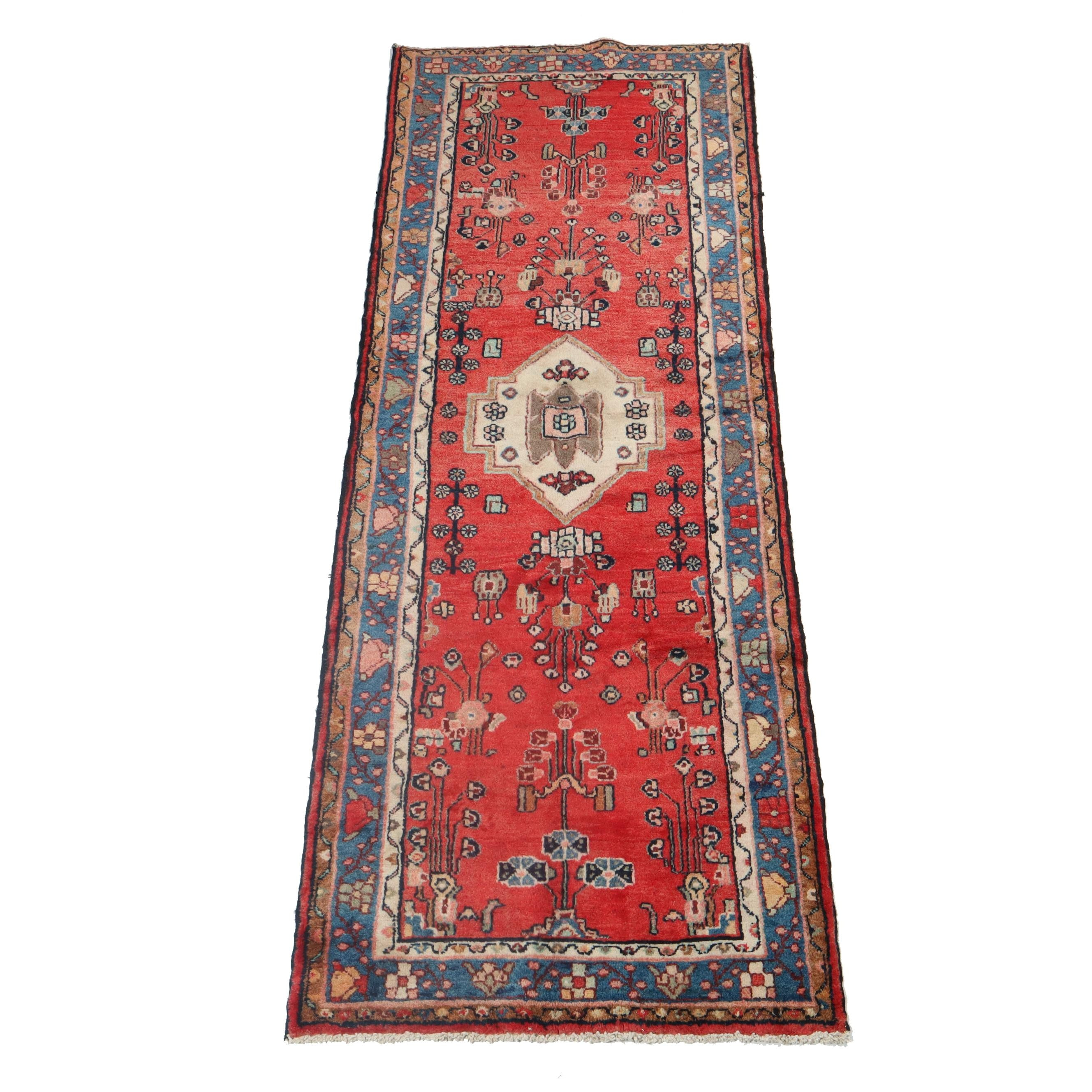 3.4' x 9.1' Hand-Knotted Persian Lilihan Carpet Runner, Circa 1950s