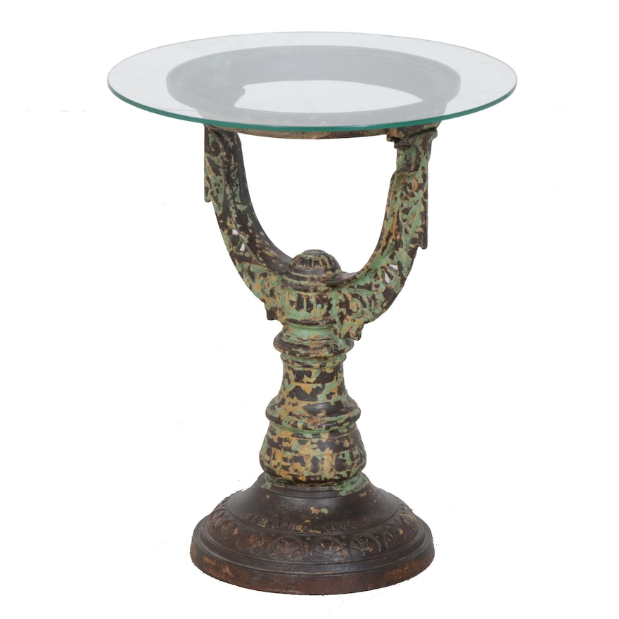 Vintage Repurposed Cast Iron Urn Stand Table With Glass Tabletop