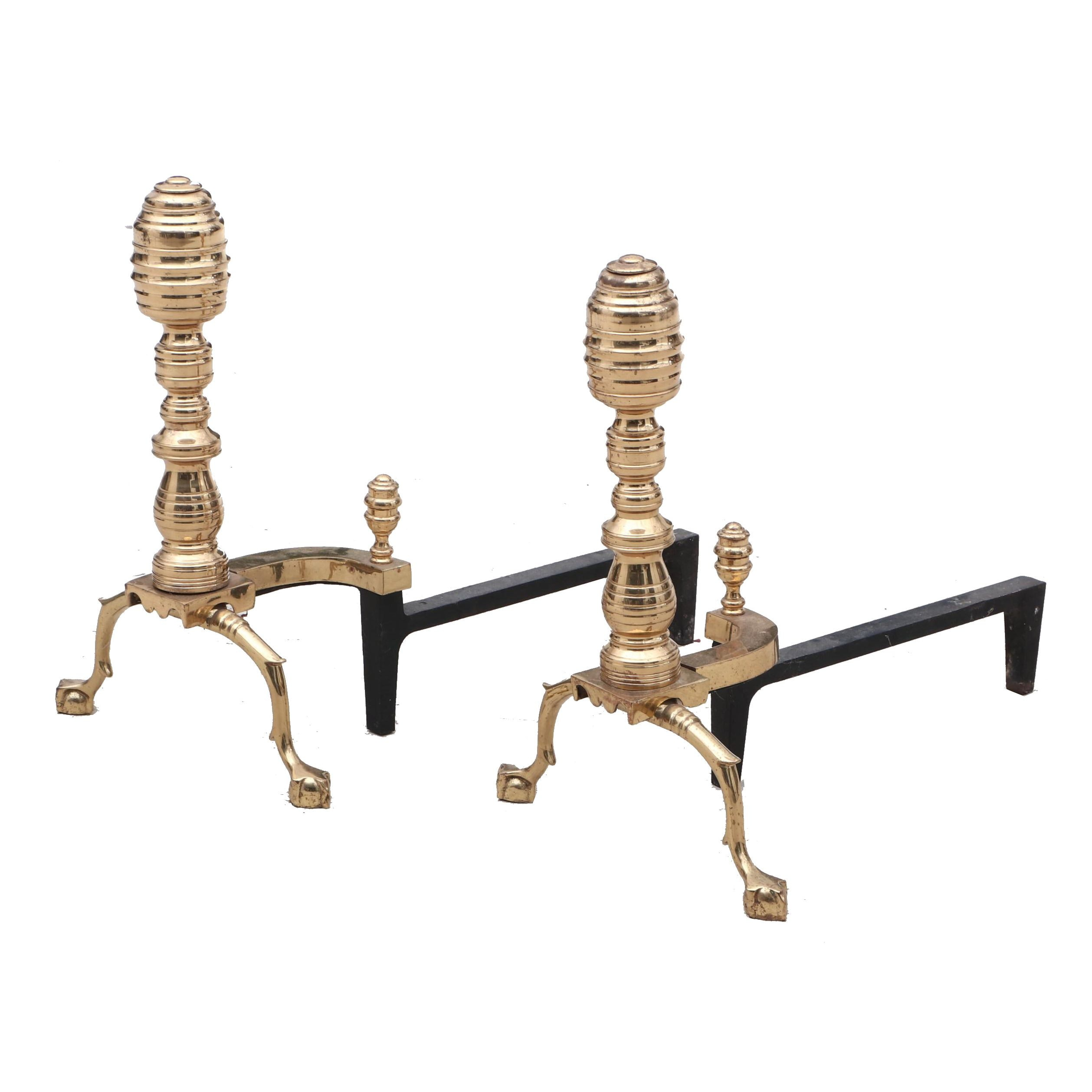 Federal Style Brass Andirons, Mid to Late 20th Century