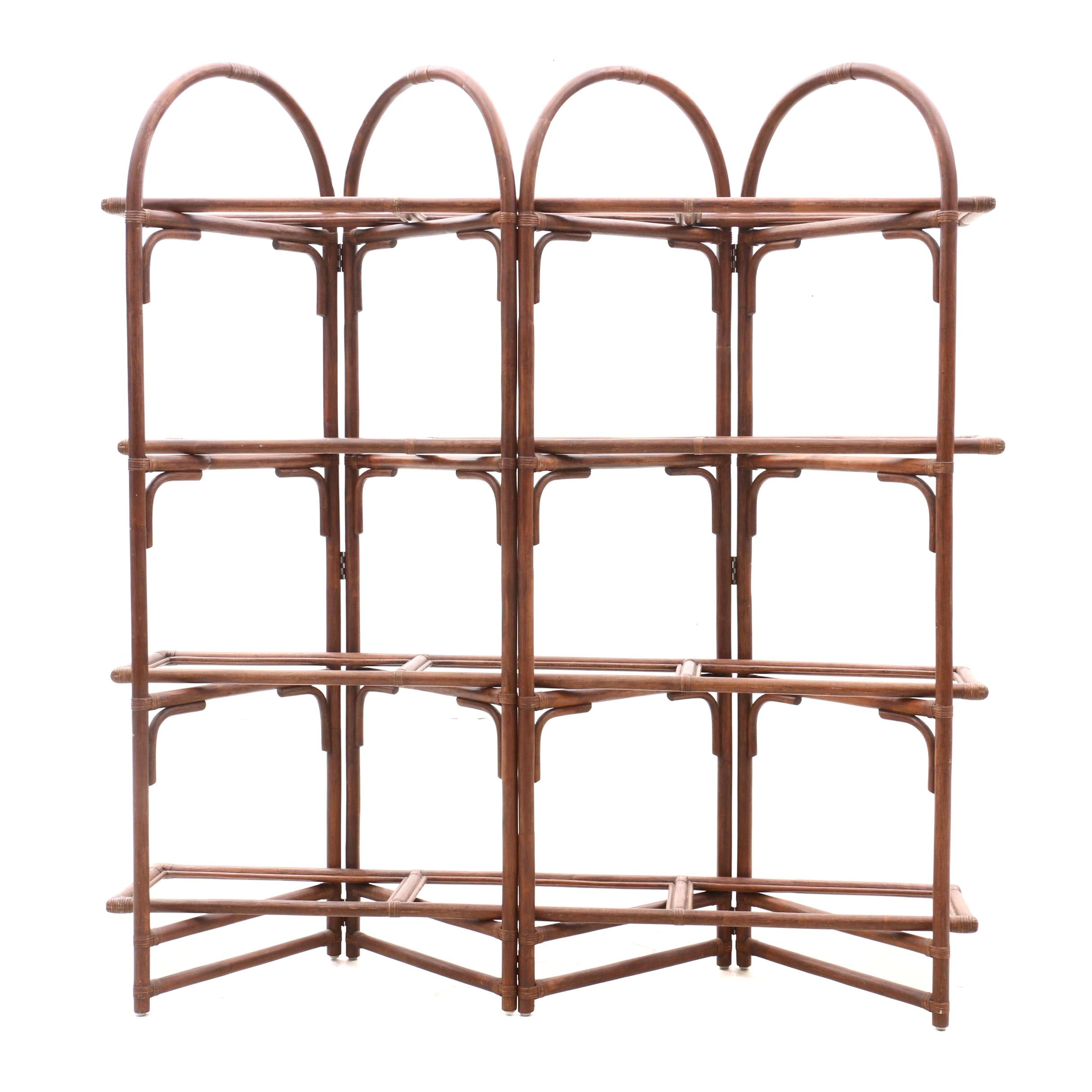 Rattan and Glass Shelving Unit, Contemporary