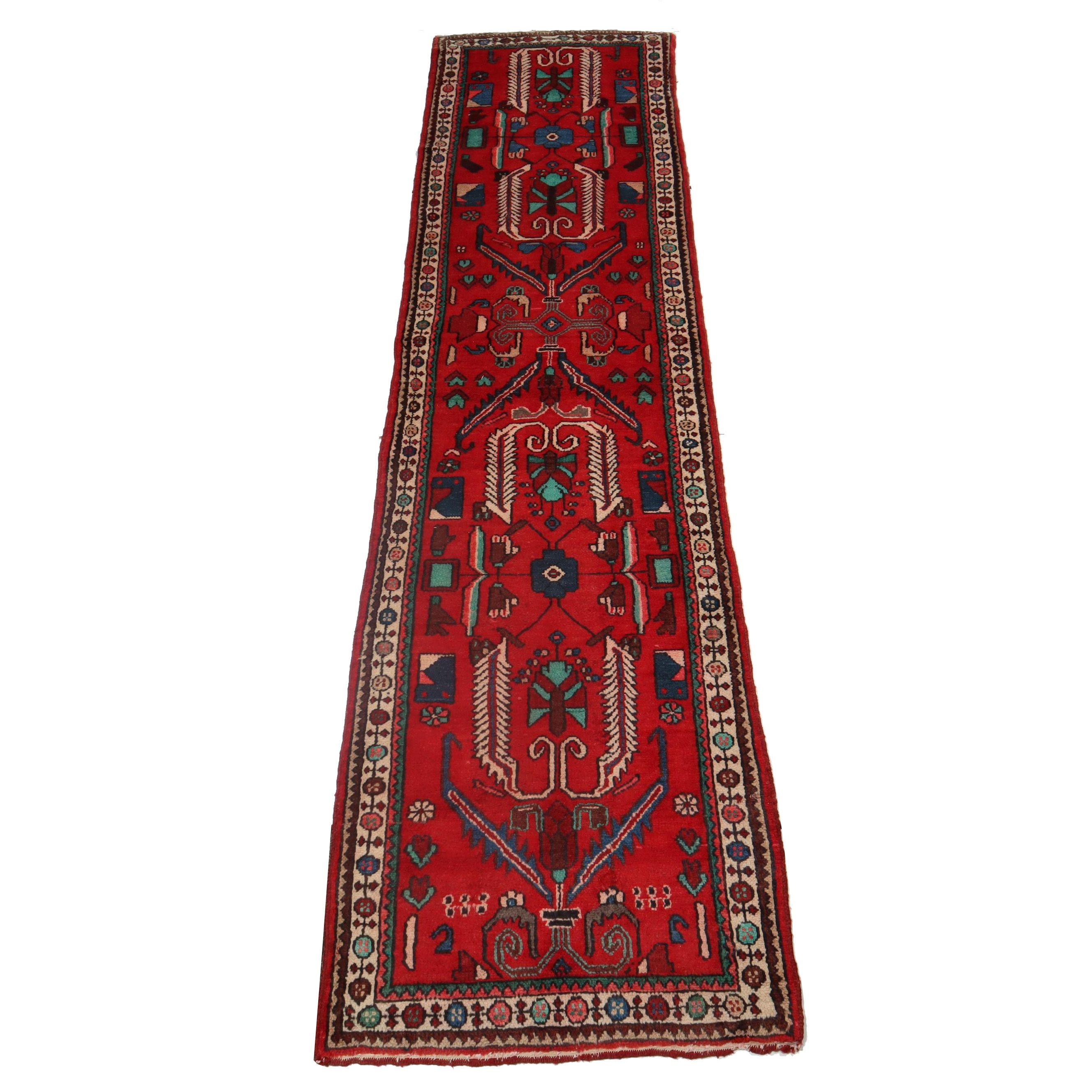 3.3' x 13.3' Hand-Knotted Persian Zanjan Carpet Runner, Circa 1950s