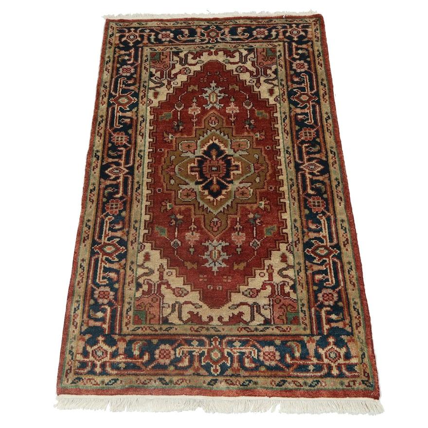 3' x 5.1' Hand-Knotted Indo-Persian Heriz Serapi Wool Rug