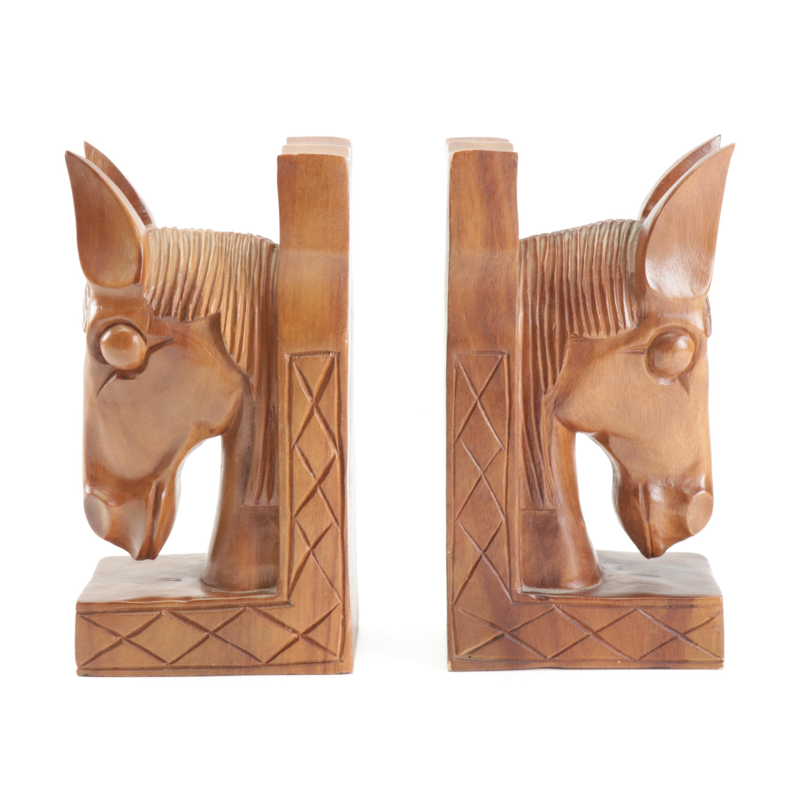 Carved Wood Horse Head Bookends, Mid-Century