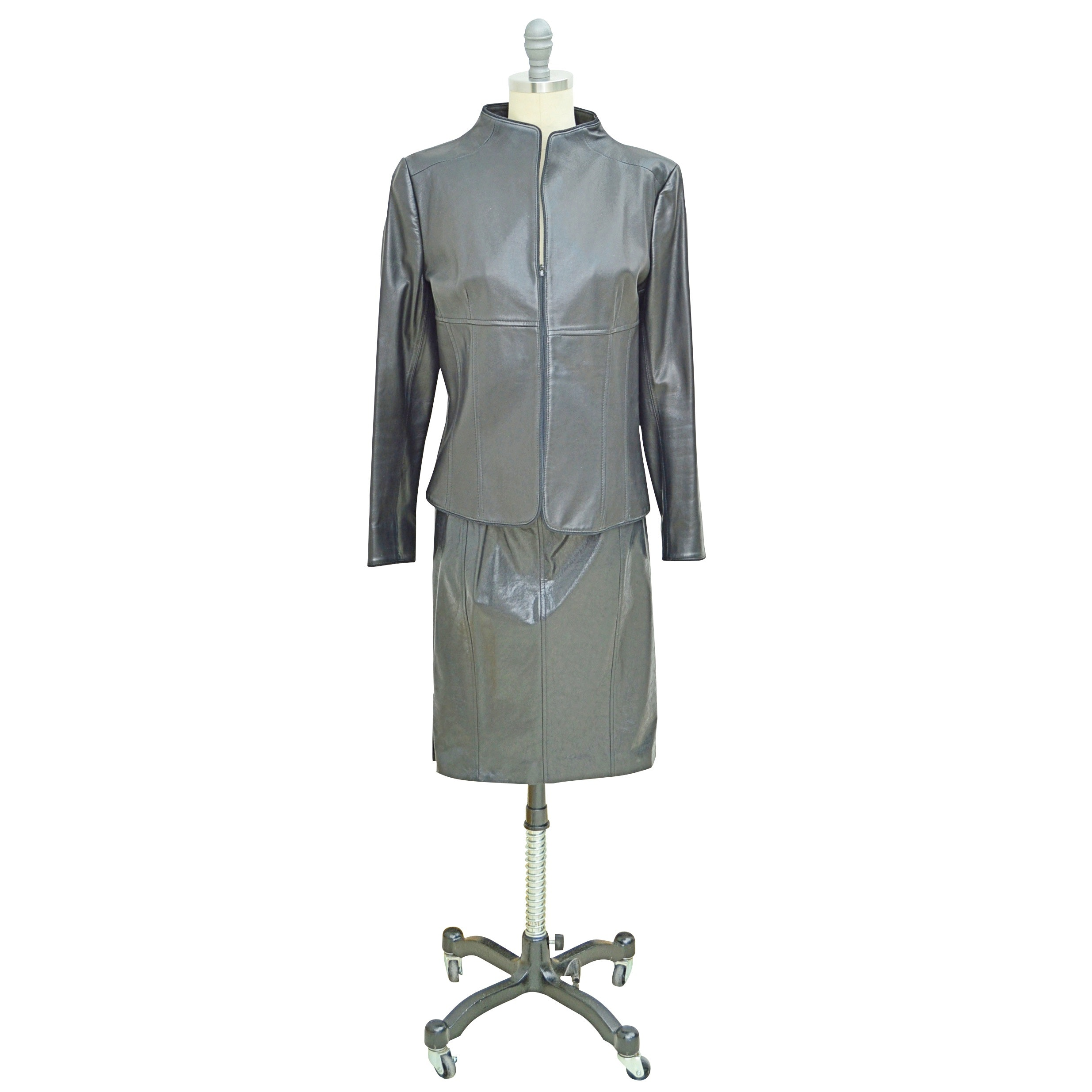 Women's Valentino Black Leather Jacket and Versace Leather Pencil Skirt