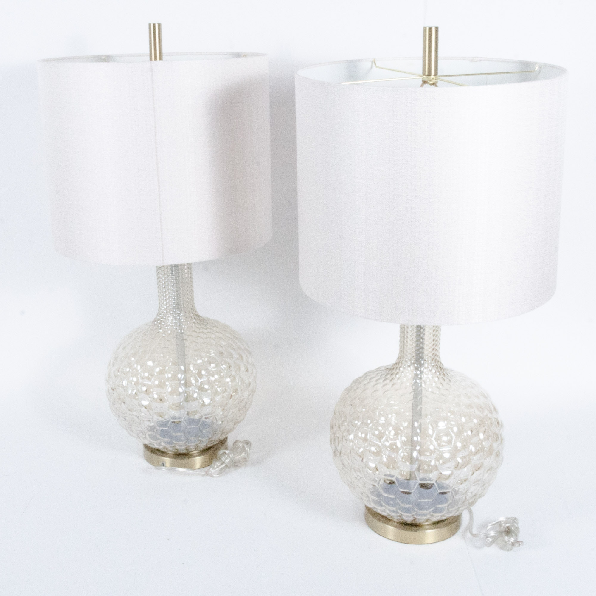 Clear Hobnail Glass Table Lamps with Sateen Shades