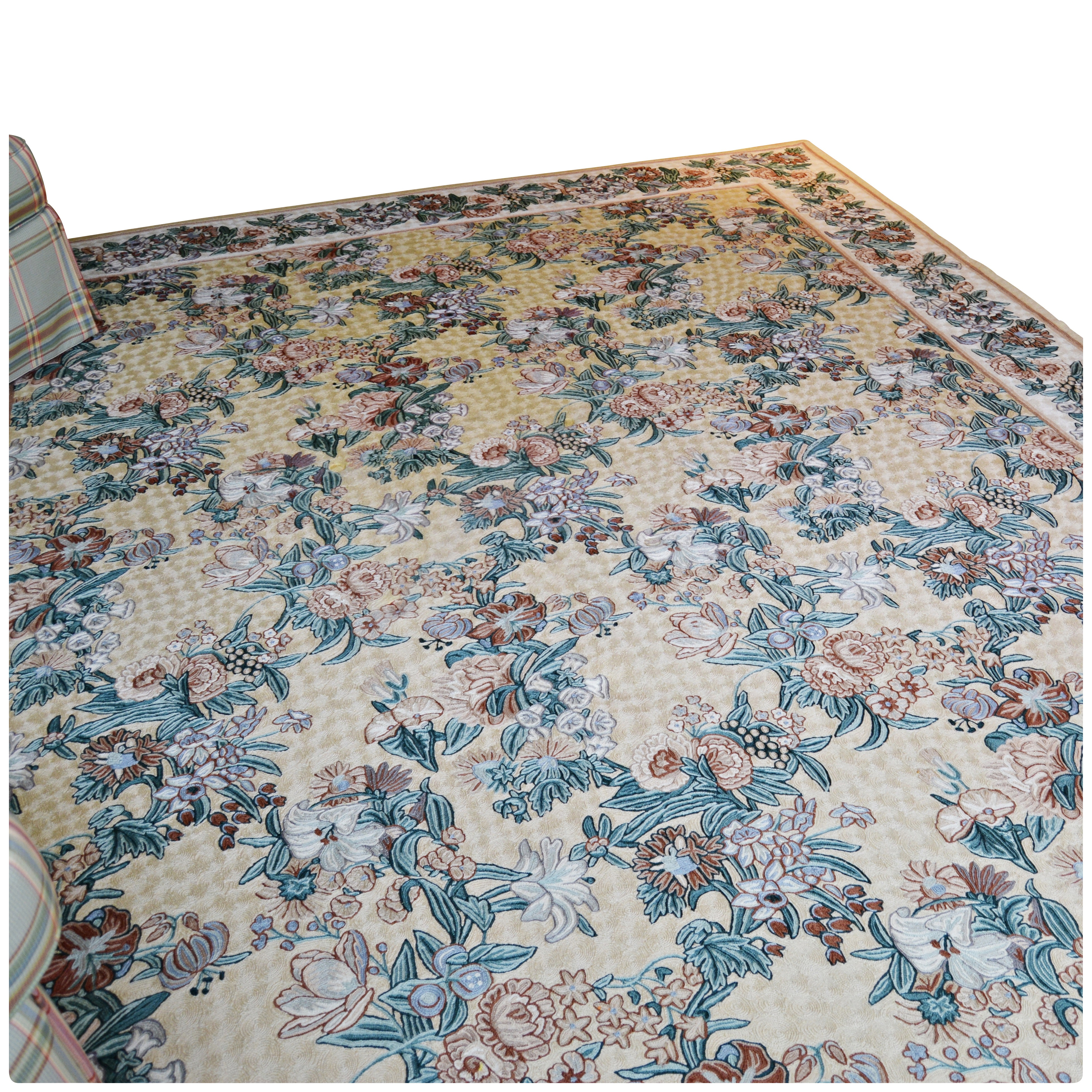 Tufted Floral Wool Area Rug