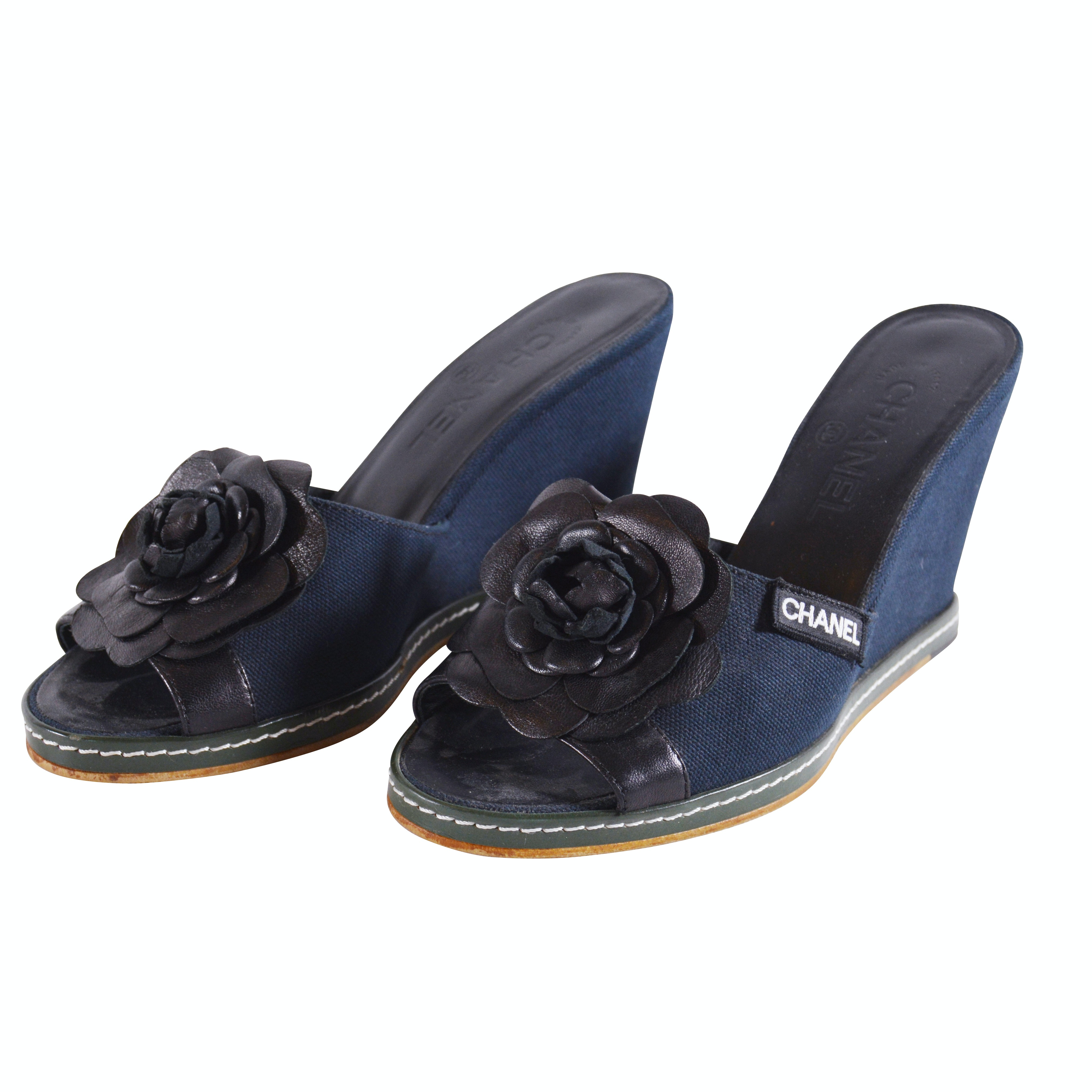 Chanel Navy Canvas and Black Leather Camelia Wedges