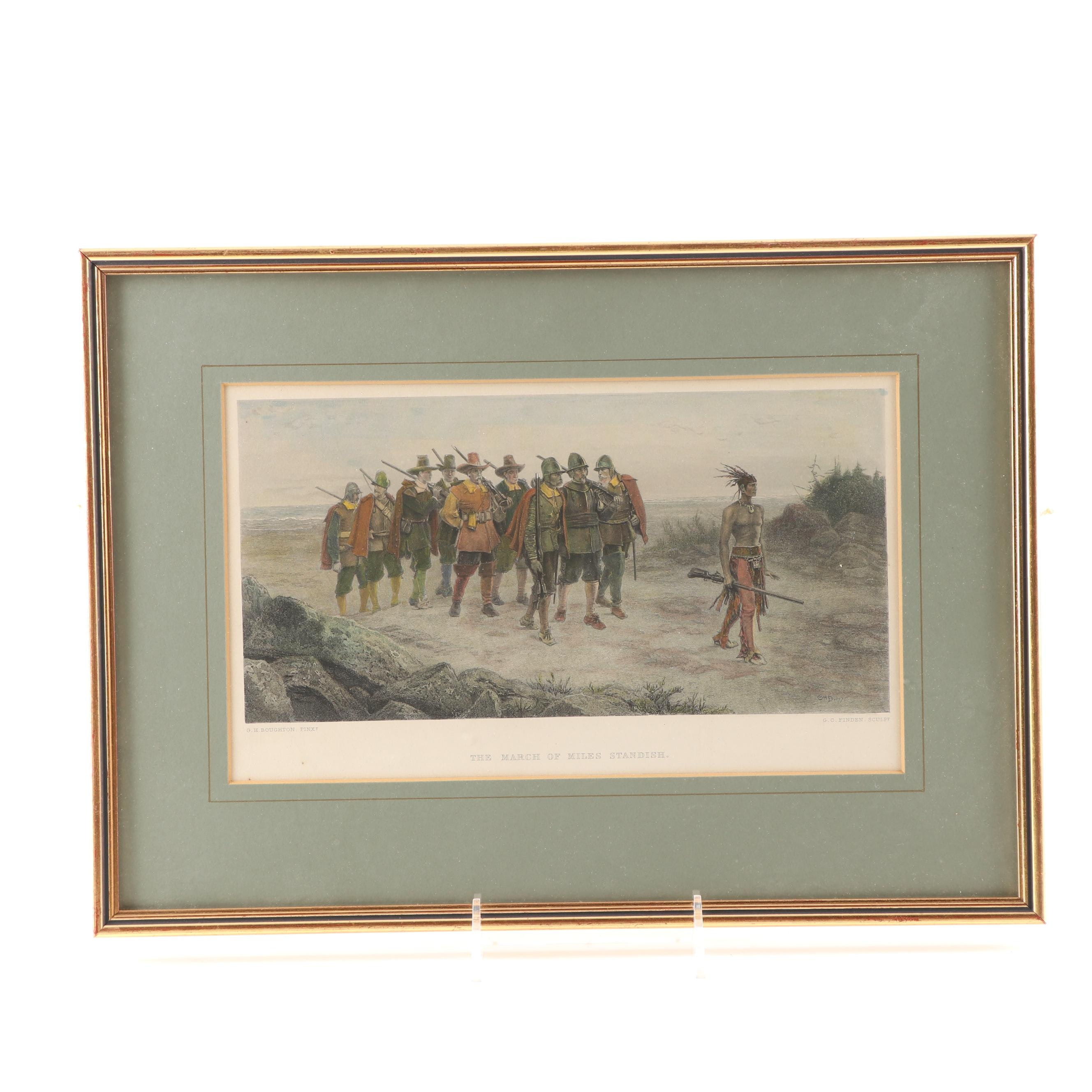 """George C. Finden Lithograph """"The March of Miles Standish"""" Circa 1870"""