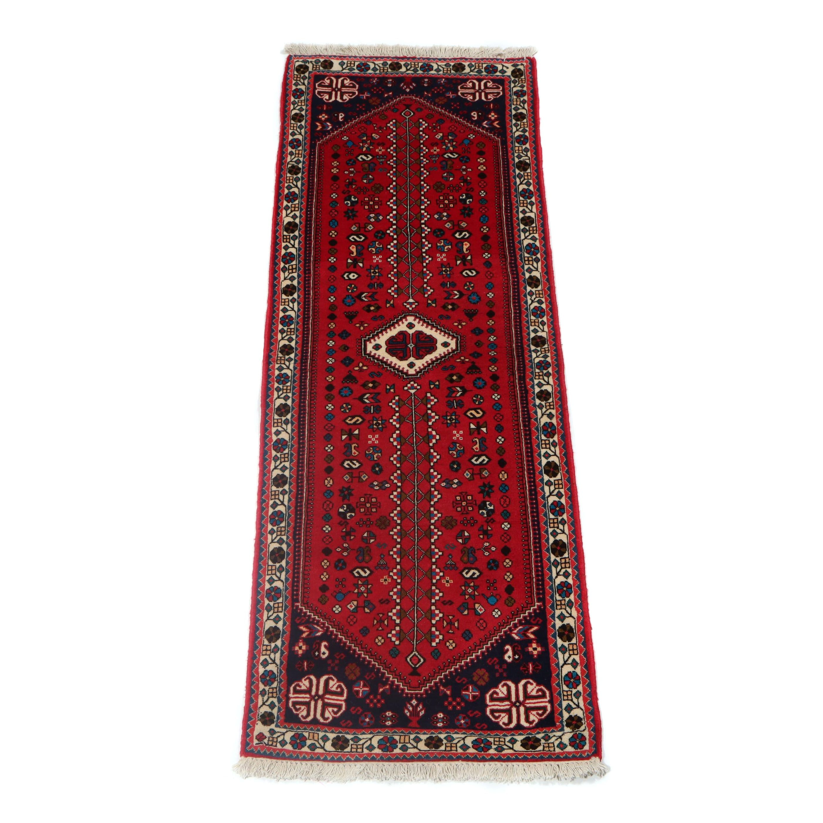 2.5' x 6.9' Hand-Knotted Persian Abadeh Shiraz Carpet Runner, Circa 1970s