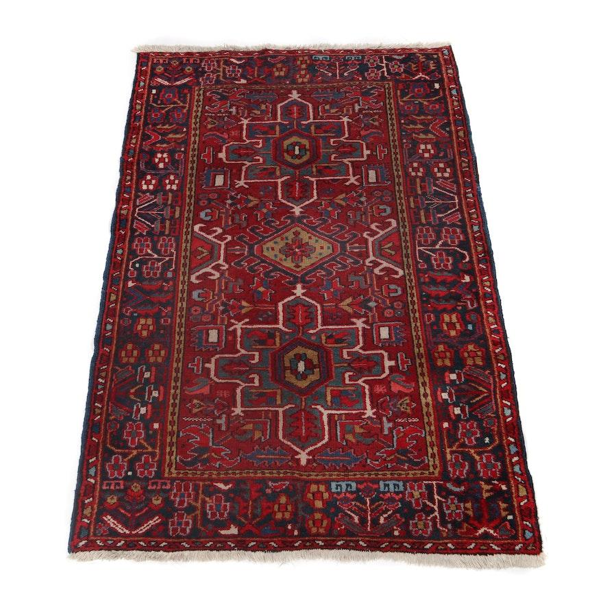 3.7' x 5.3' Hand-Knotted Persian Heriz Karaja Wool Rug, Circa 1940s