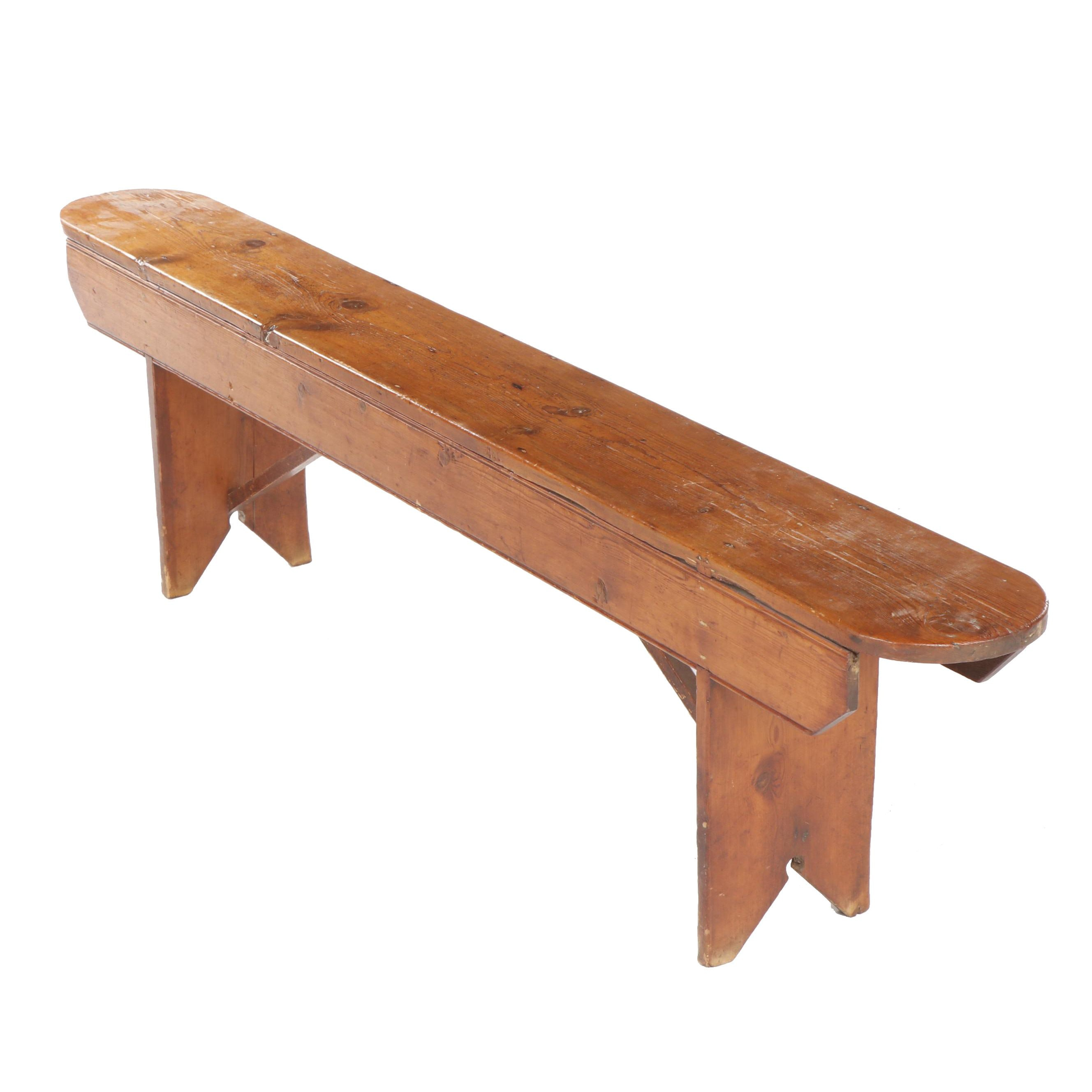American Primitive Oblong Pine Bench, 19th Century and Later