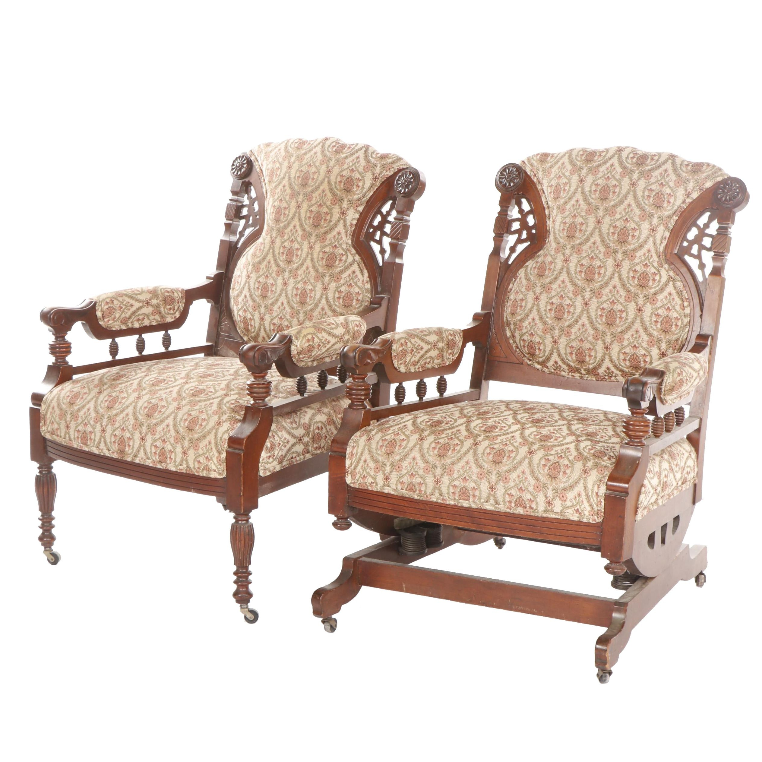 Late Victorian, Eastlake Style Carved Walnut Rocking Chair and Armchair