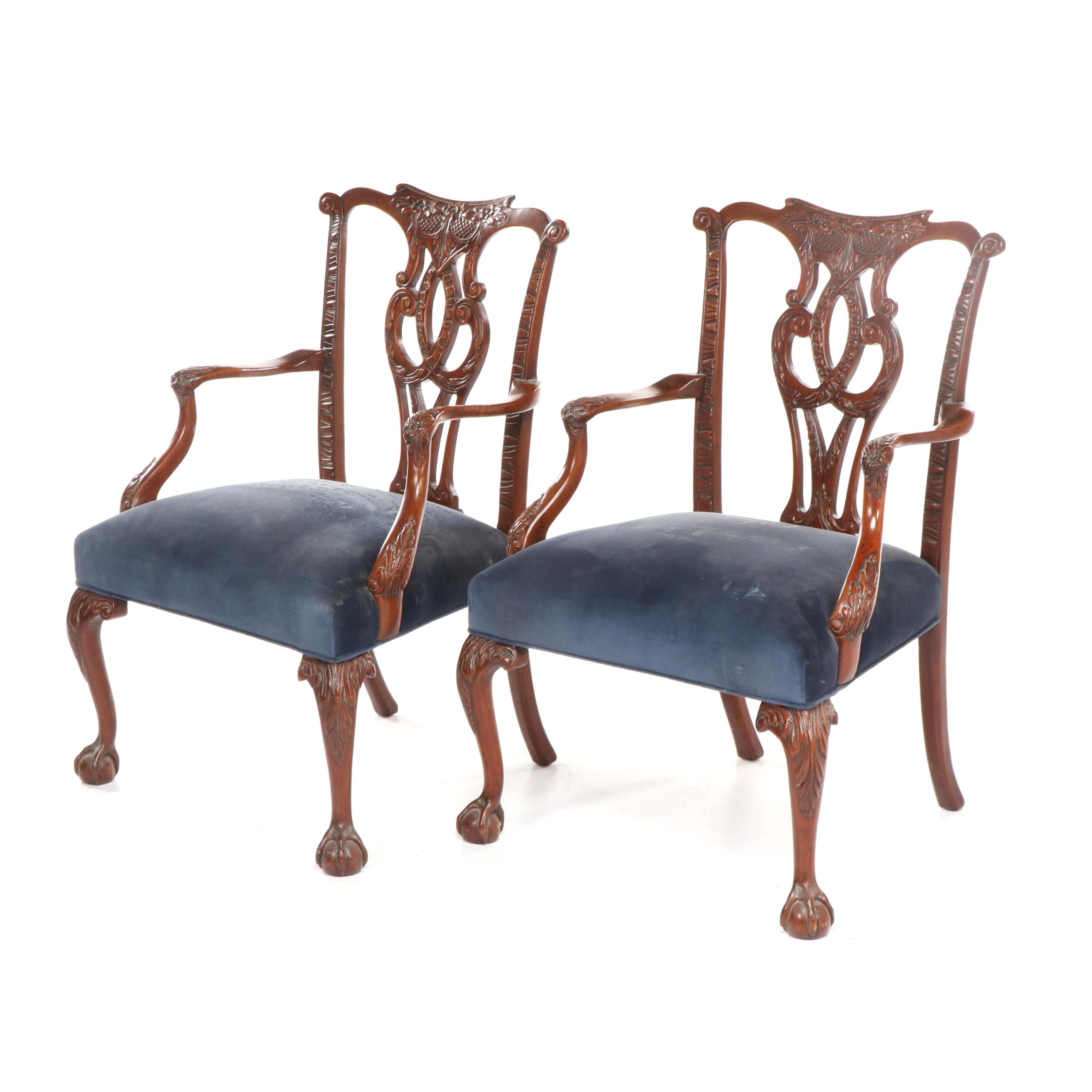 Pair of Bench-Made Weber Chippendale Style Carved Mahogany-Finish Armchairs