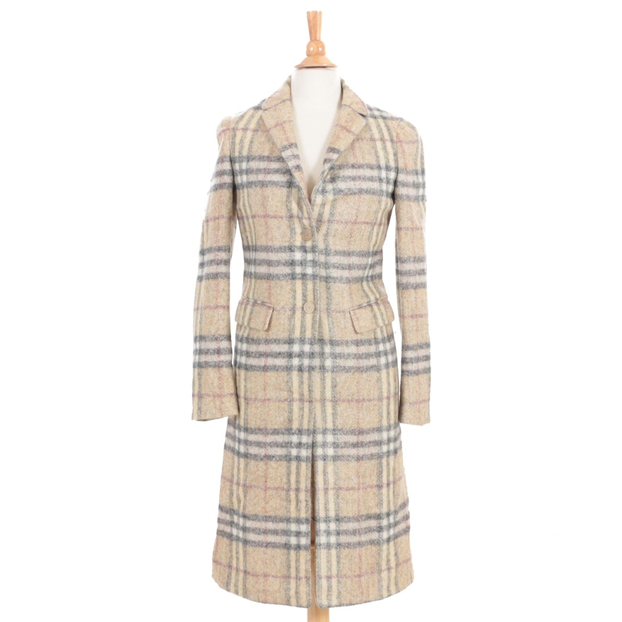 Women's Burberry Prorsum Plaid Wool Blend Coat