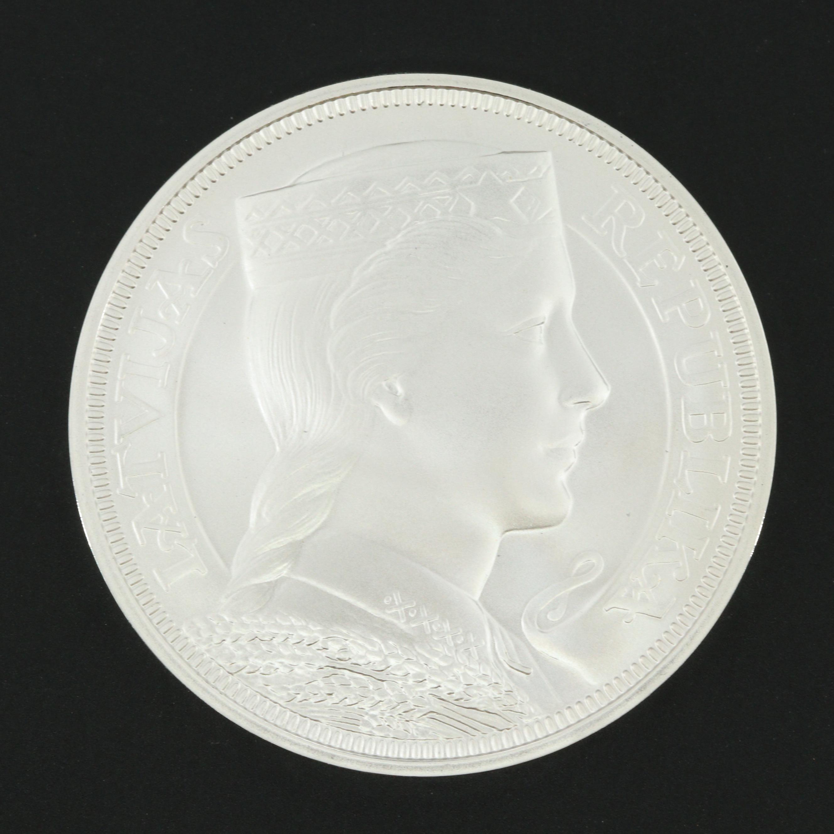 2012 Latvia Bank of Latvia 90th Anniversary Commemorative 5 Lati Silver Coin