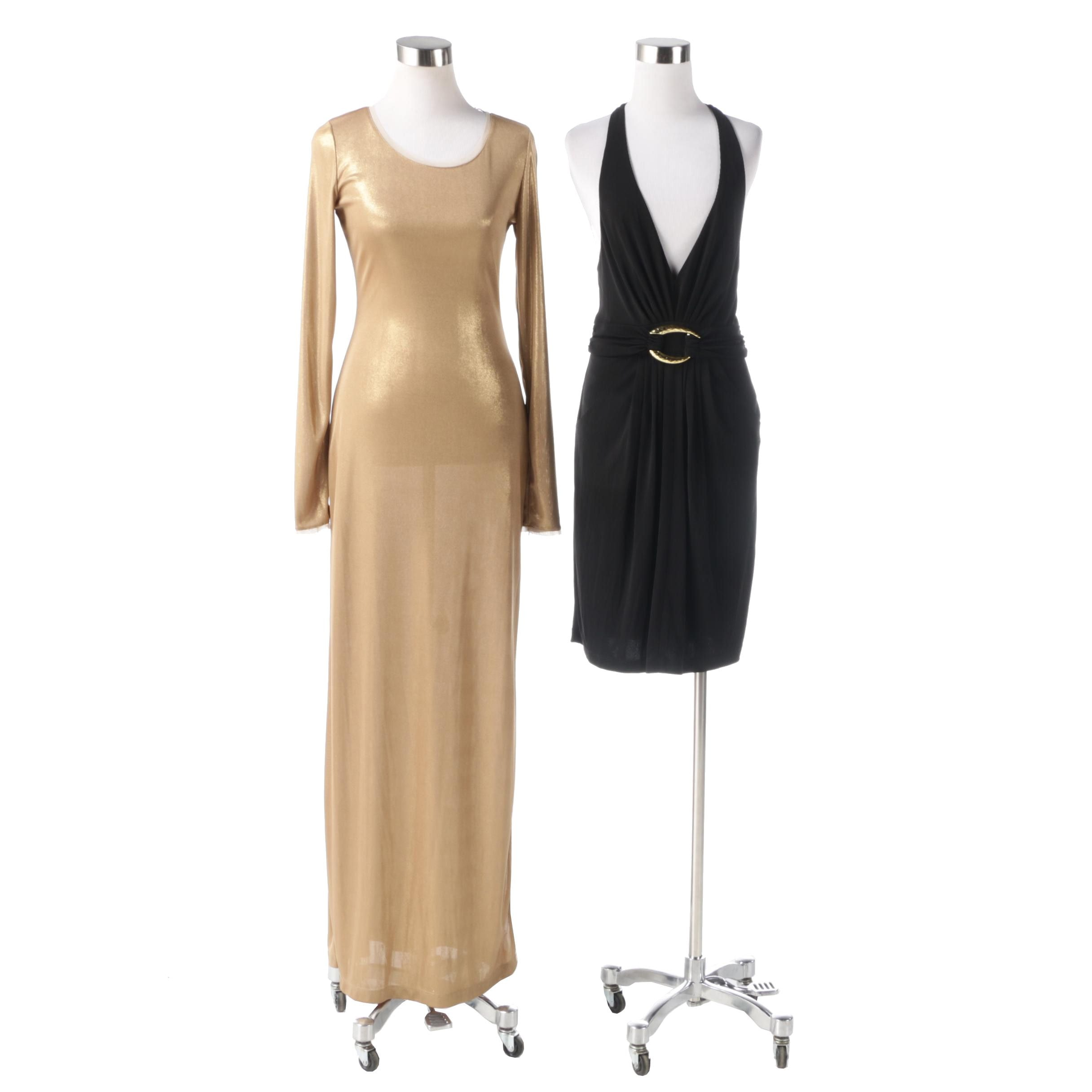 "BCBG Max Azria Gold ""Fresno"" Dress and Black Knit Jersey Buckle Halter Dress"