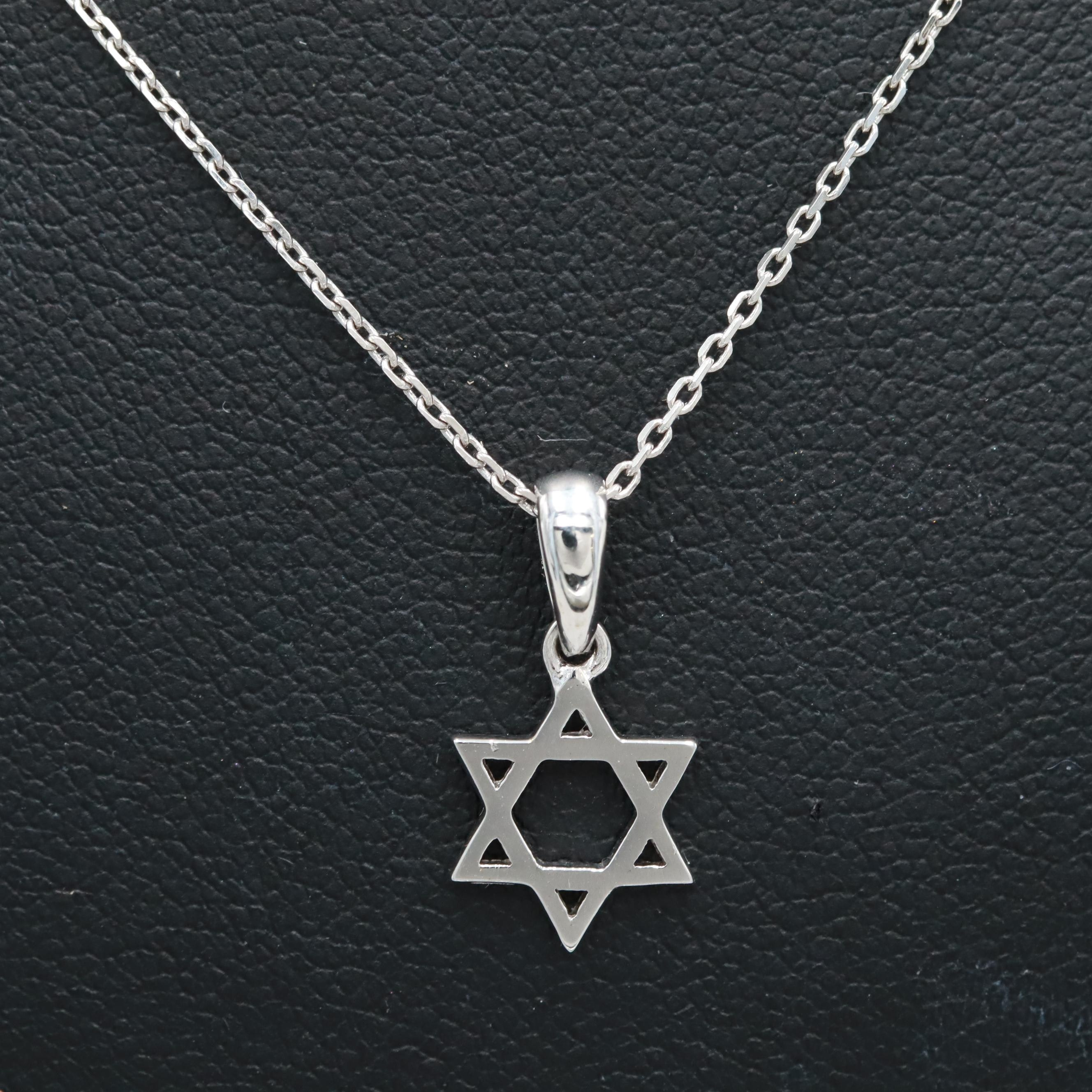 Sterling Silver Star of David Pendant on Cable Link Chain