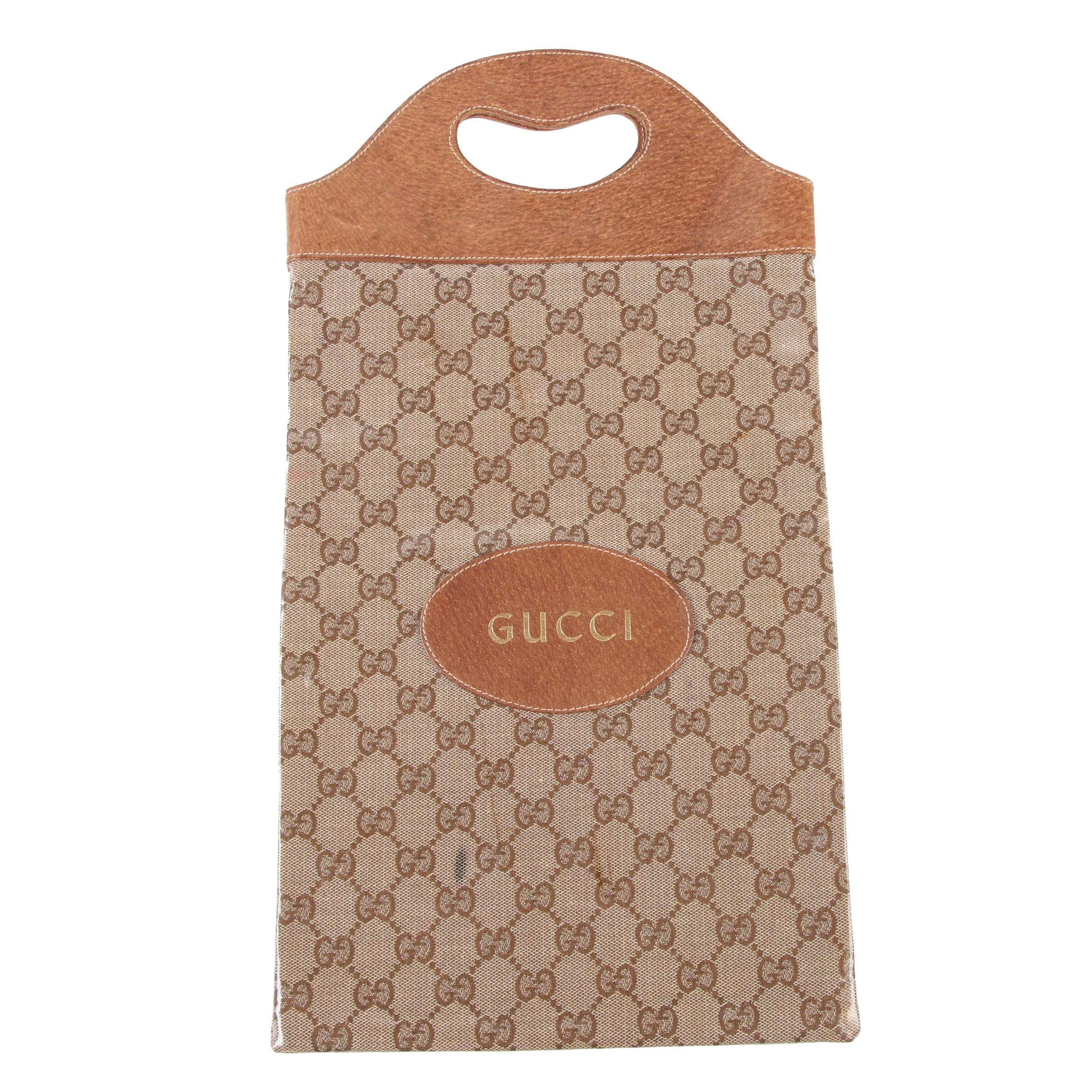 Gucci Wine Tote in GG Waterproof Coated Canvas, Late 20th Century