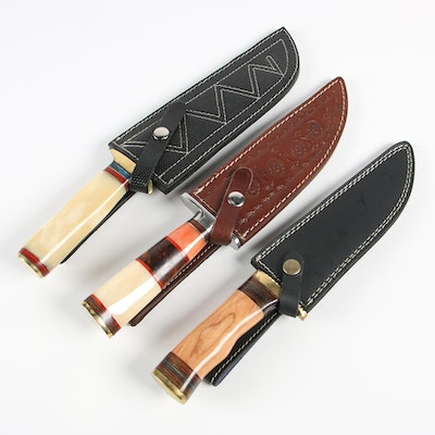 782ed52314097 Damascus Steel Hunting Knives with Leather Sheaths | EBTH