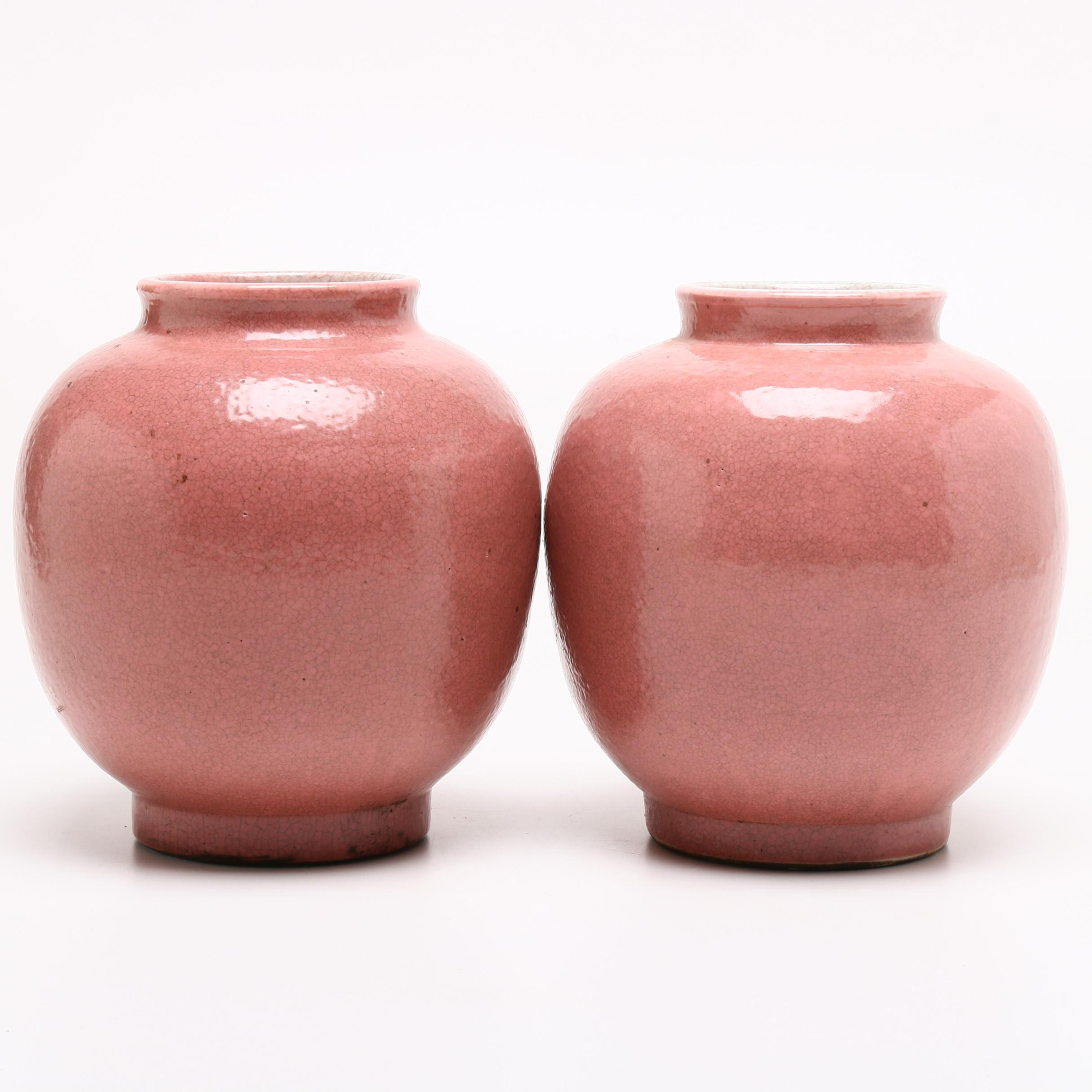 Textured Thrown Stoneware Jars, Early to Mid 20th Century