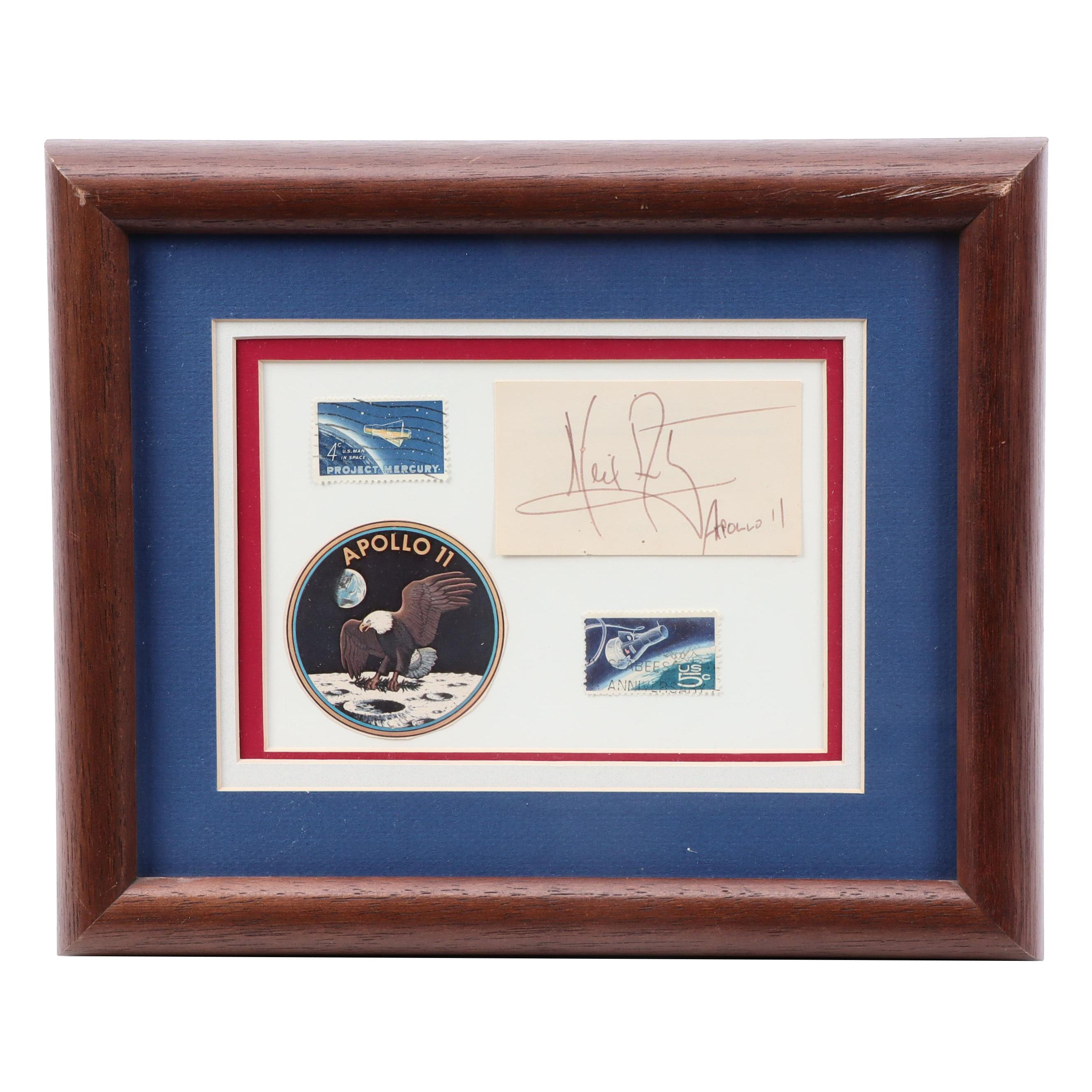 "Signed Neil Armstrong ""First Man on the Moon"" Apollo 11 Framed Display"