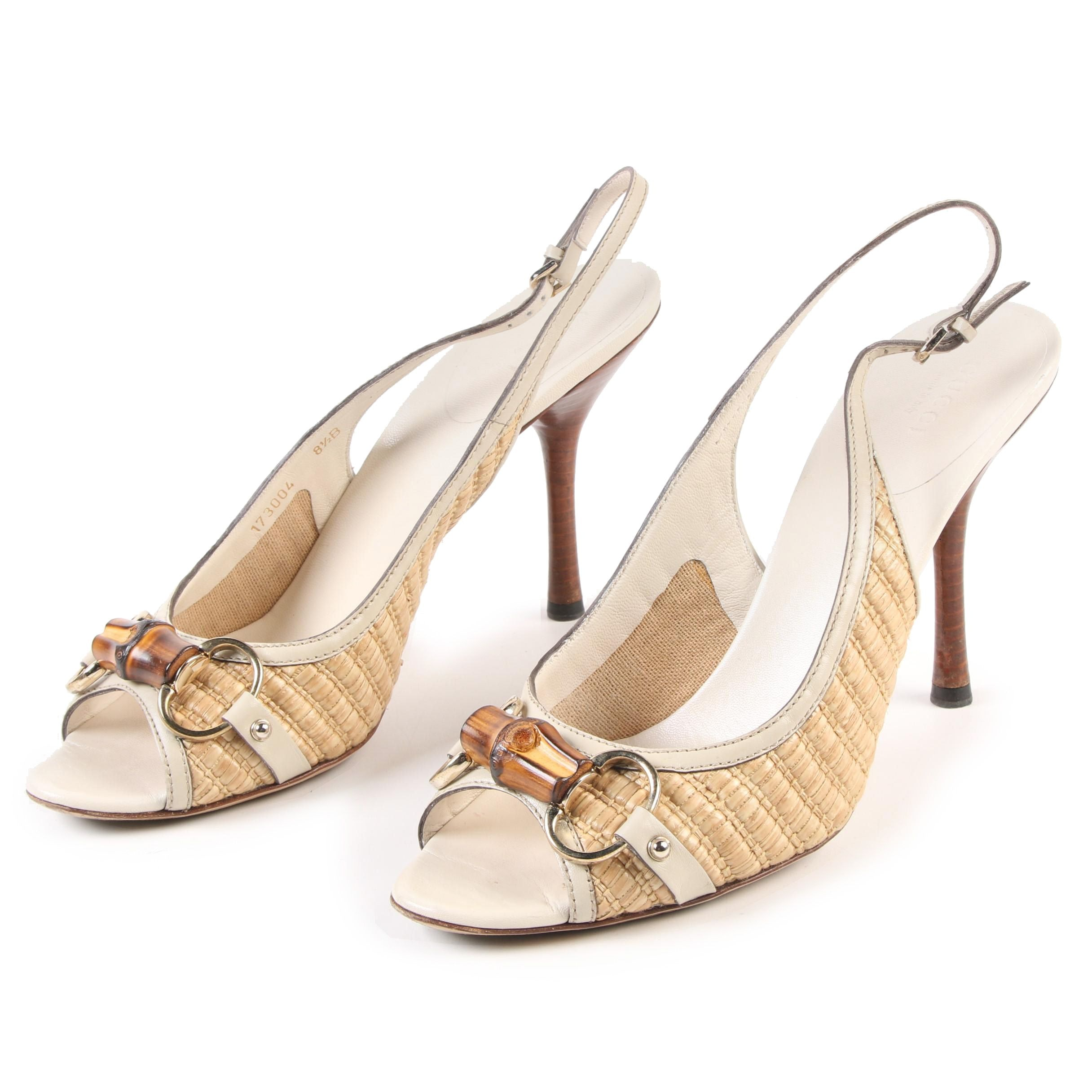 Gucci Bamboo Horsebit High Heel Slingback Sandals in Natural Straw and Leather