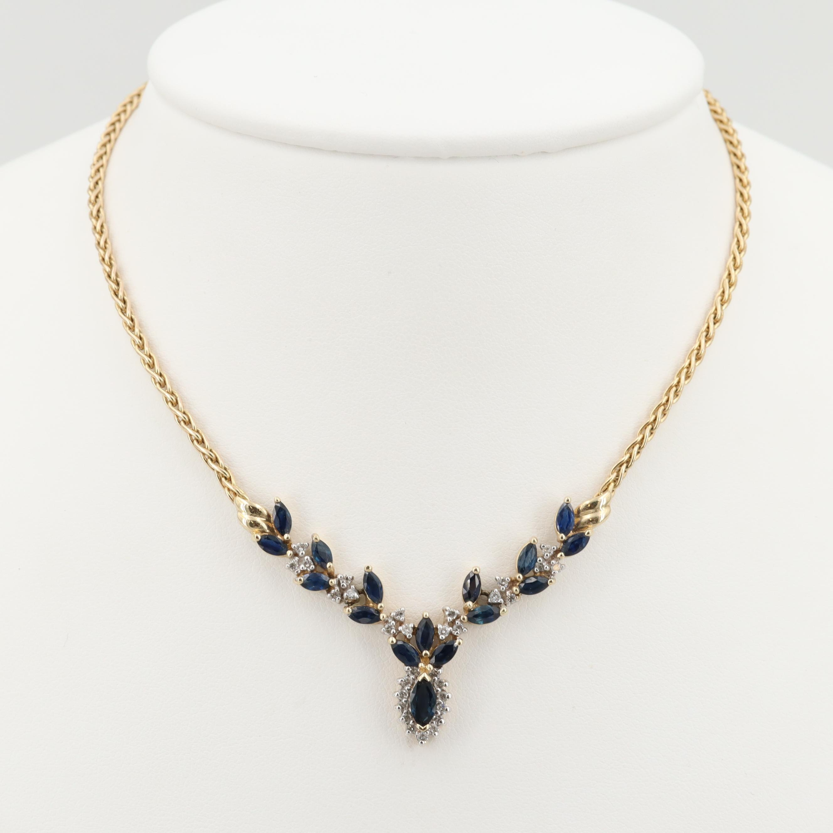 14K Yellow Gold Blue Sapphire and Diamond Chevron Necklace