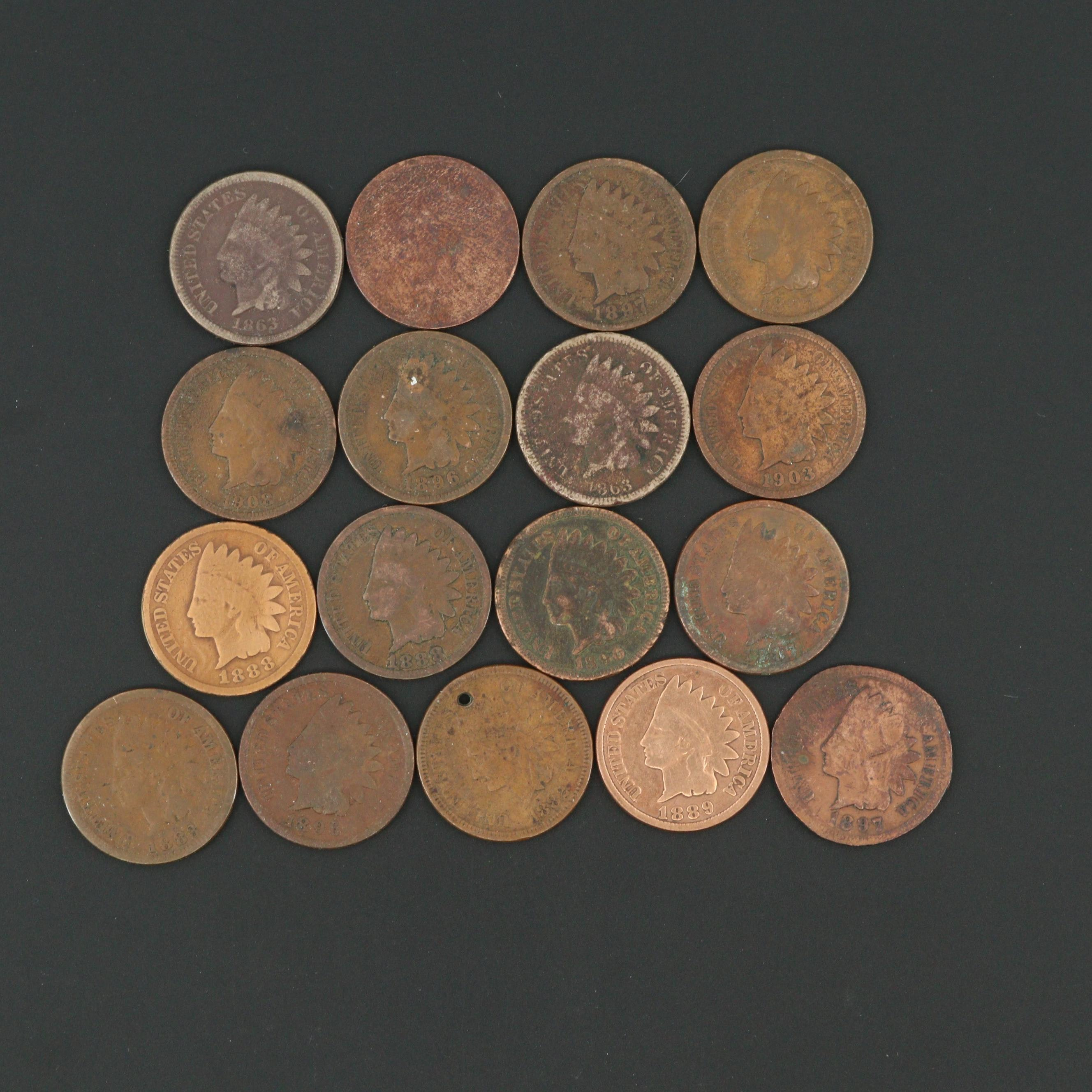Seventeen Indian Head Cents