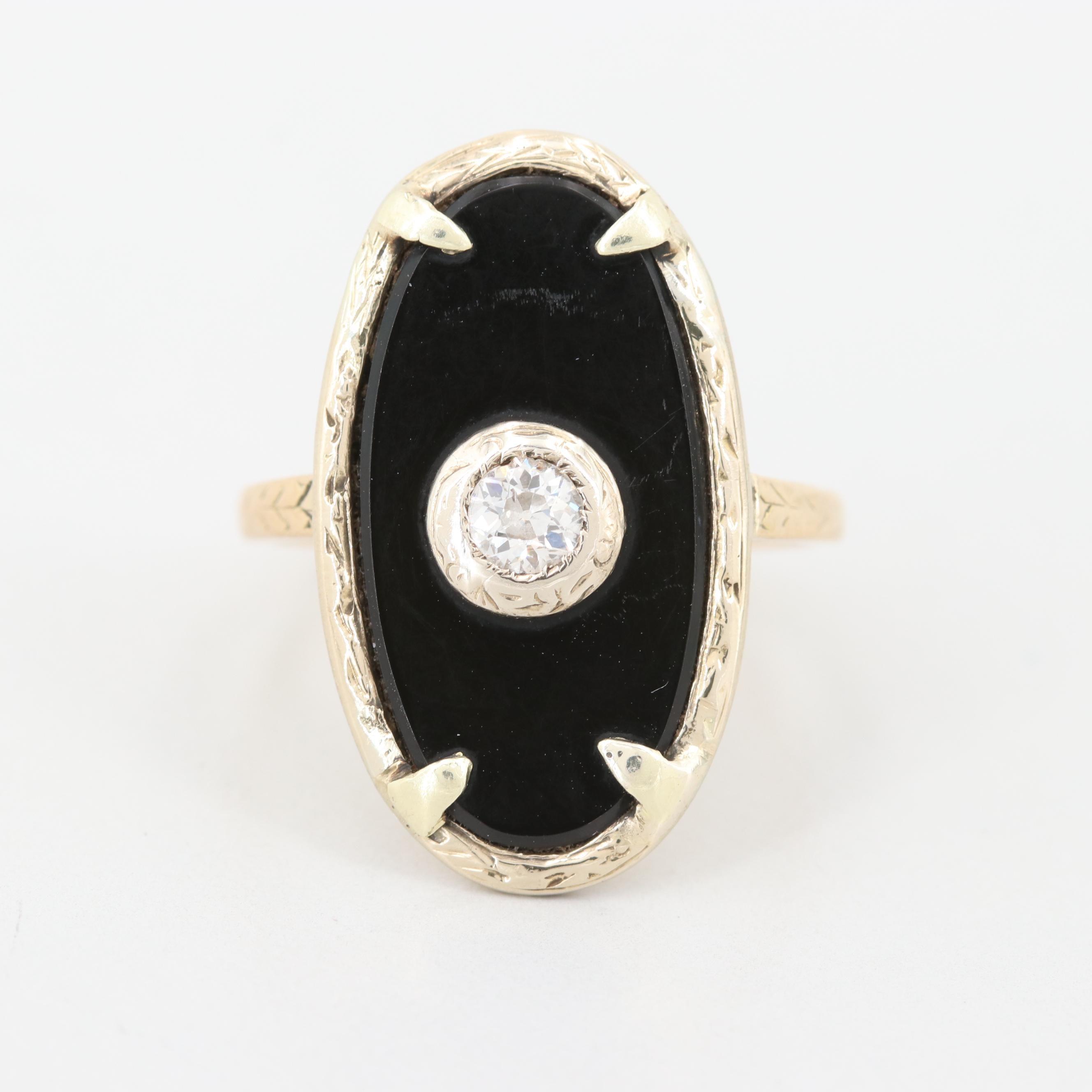 Circa 1900 14K Yellow Gold Diamond and Black Onyx Ring