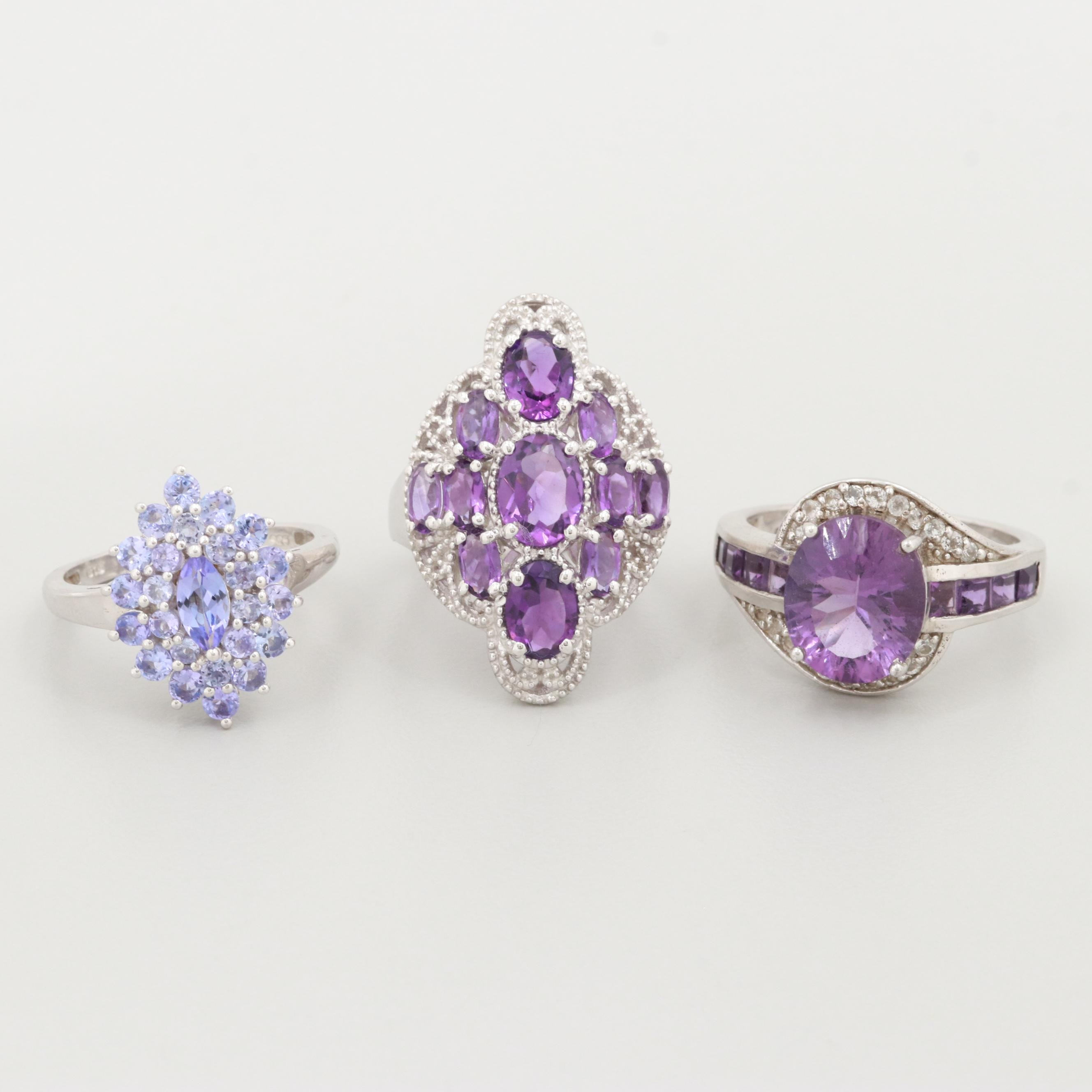Sterling Silver Gemstone Rings Including Amethyst, Tanzanite and White Sapphire