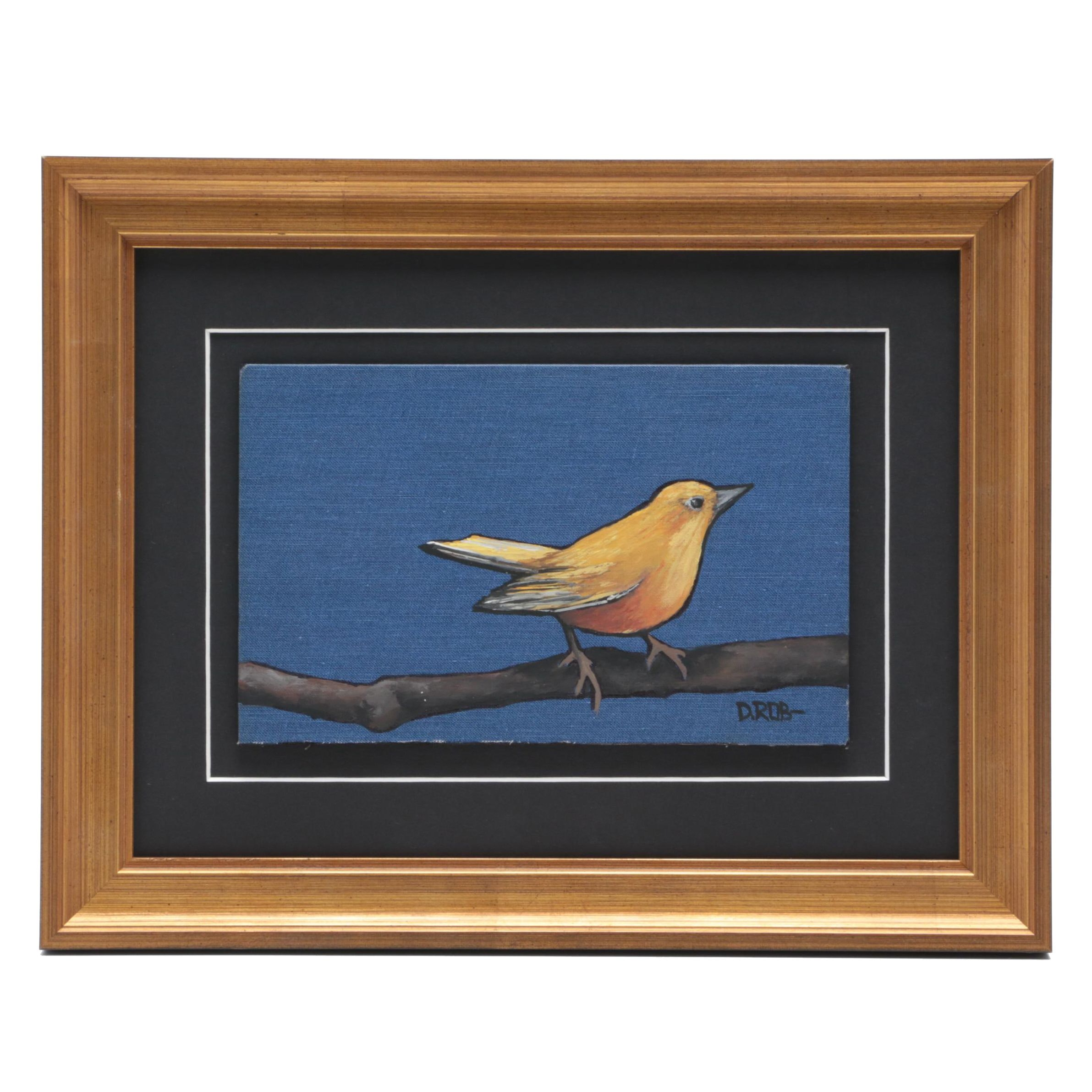 D. Rob Oil Painting of Bird on Branch