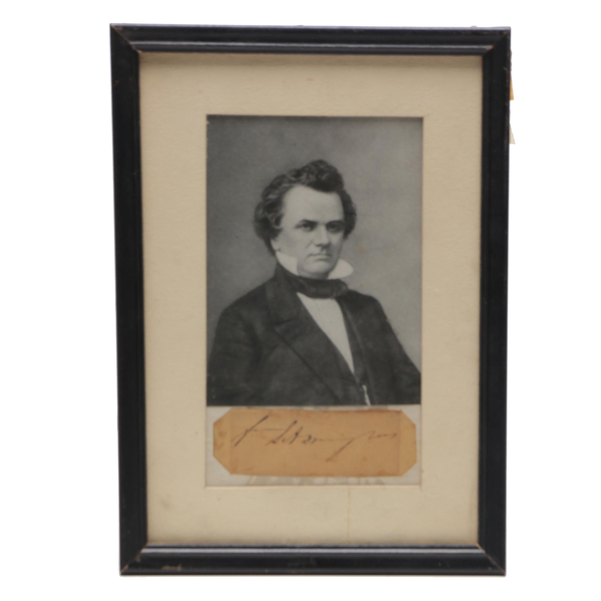 Stephen Douglas Cut Signature with Portrait Print, Circa Mid-19th Century