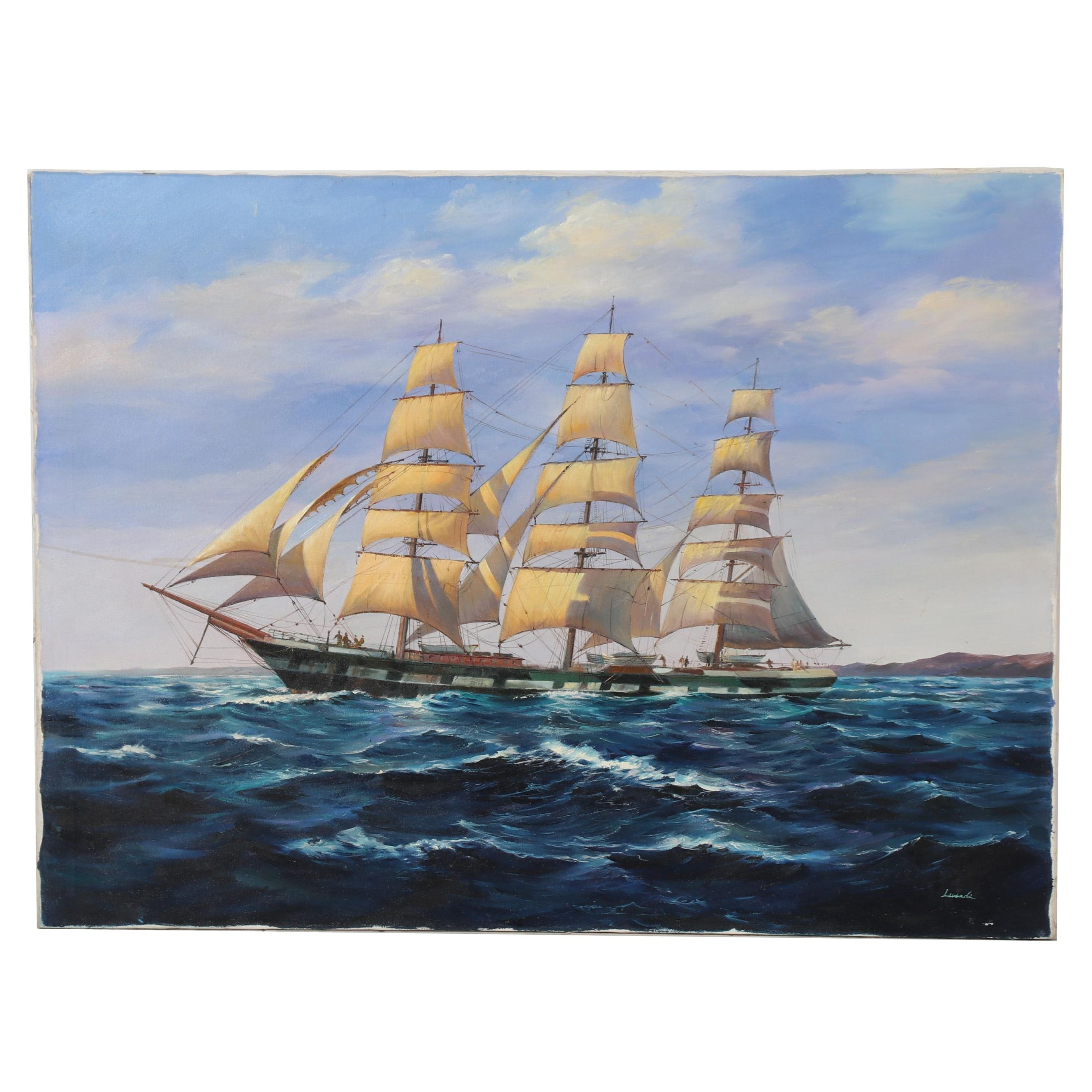 Late 20th Century Marine Oil Painting