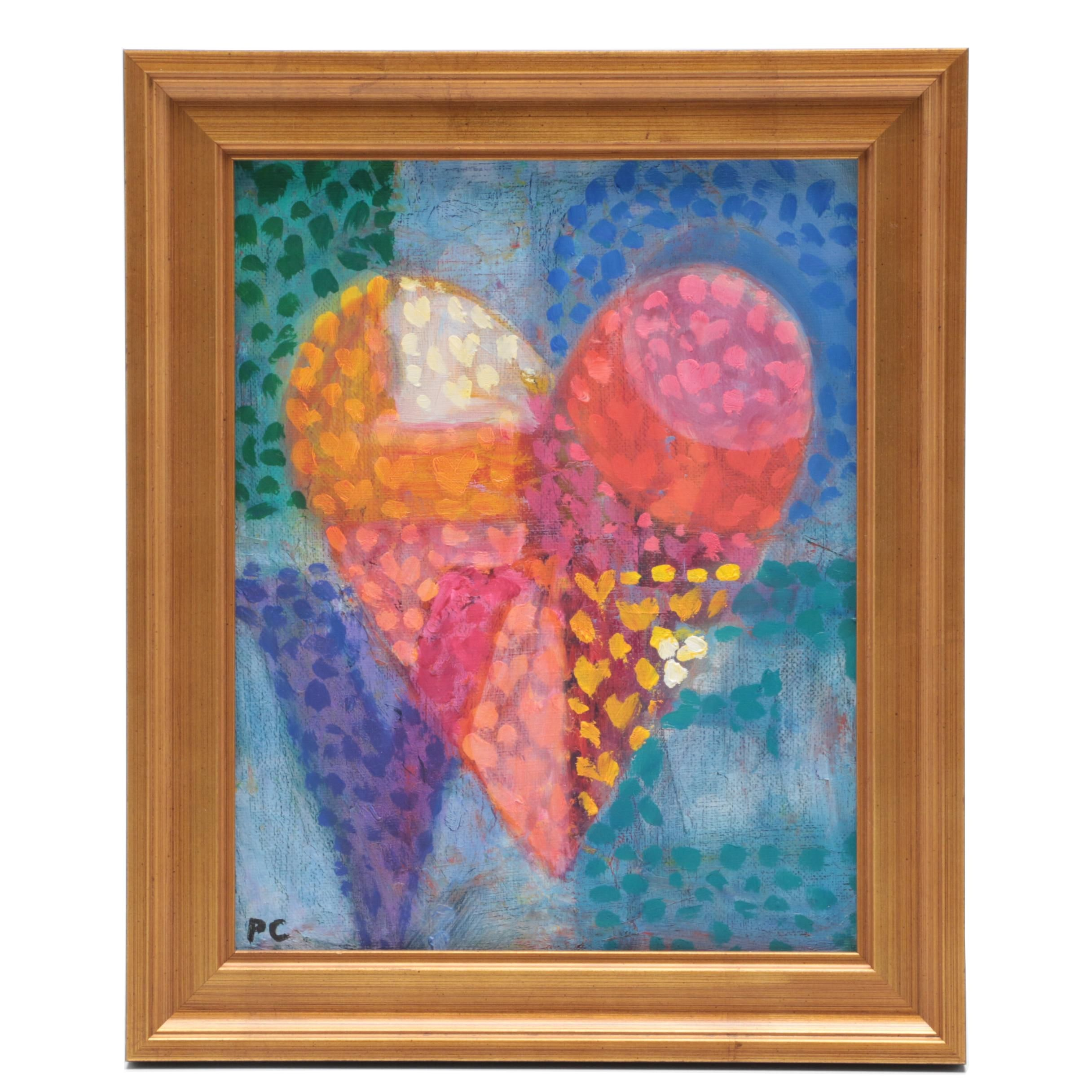 """Peter Chorao Oil Painting """"Love Heart"""""""