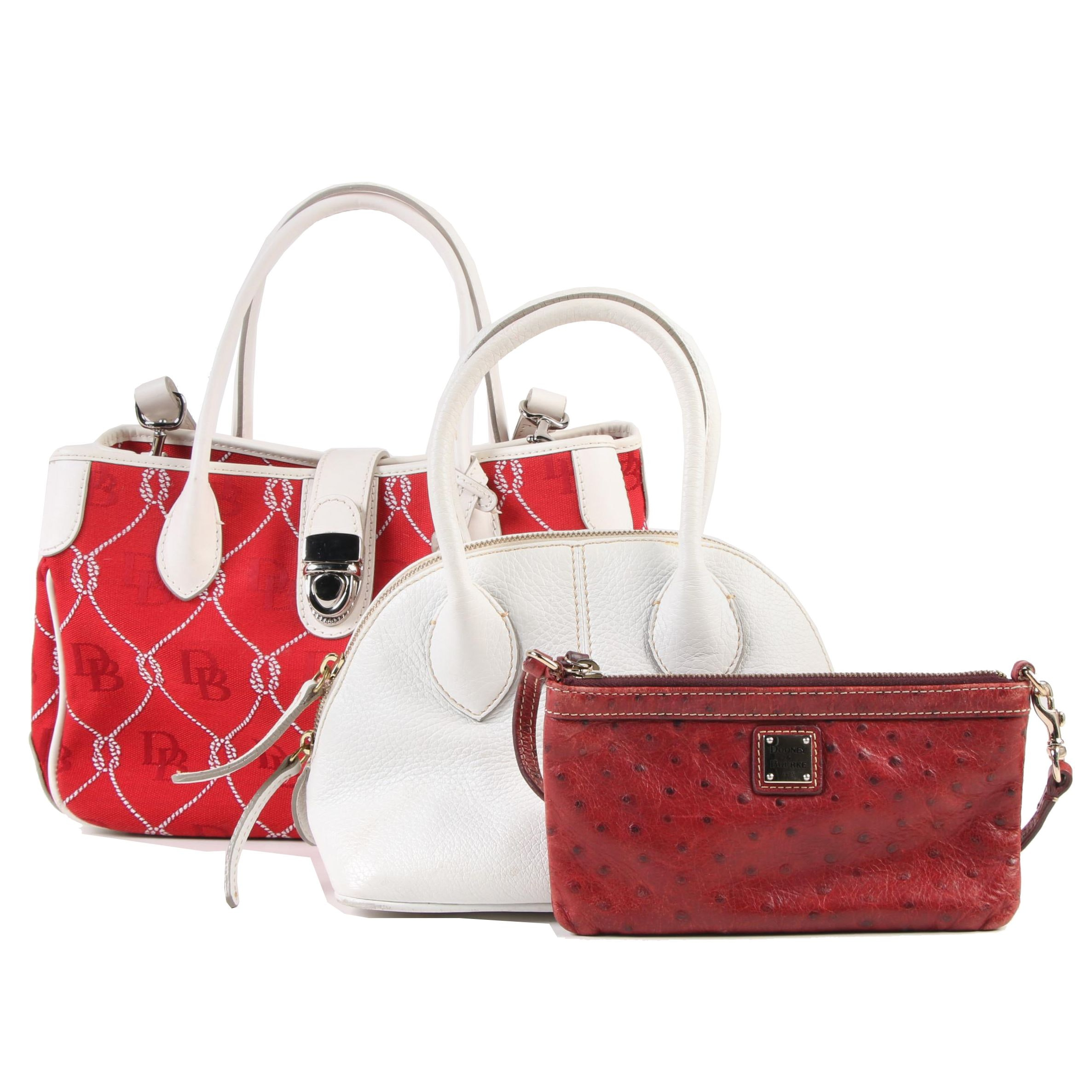 Dooney & Bourke Canvas and Leather Handbags with Ostrich Embossed Wristlet
