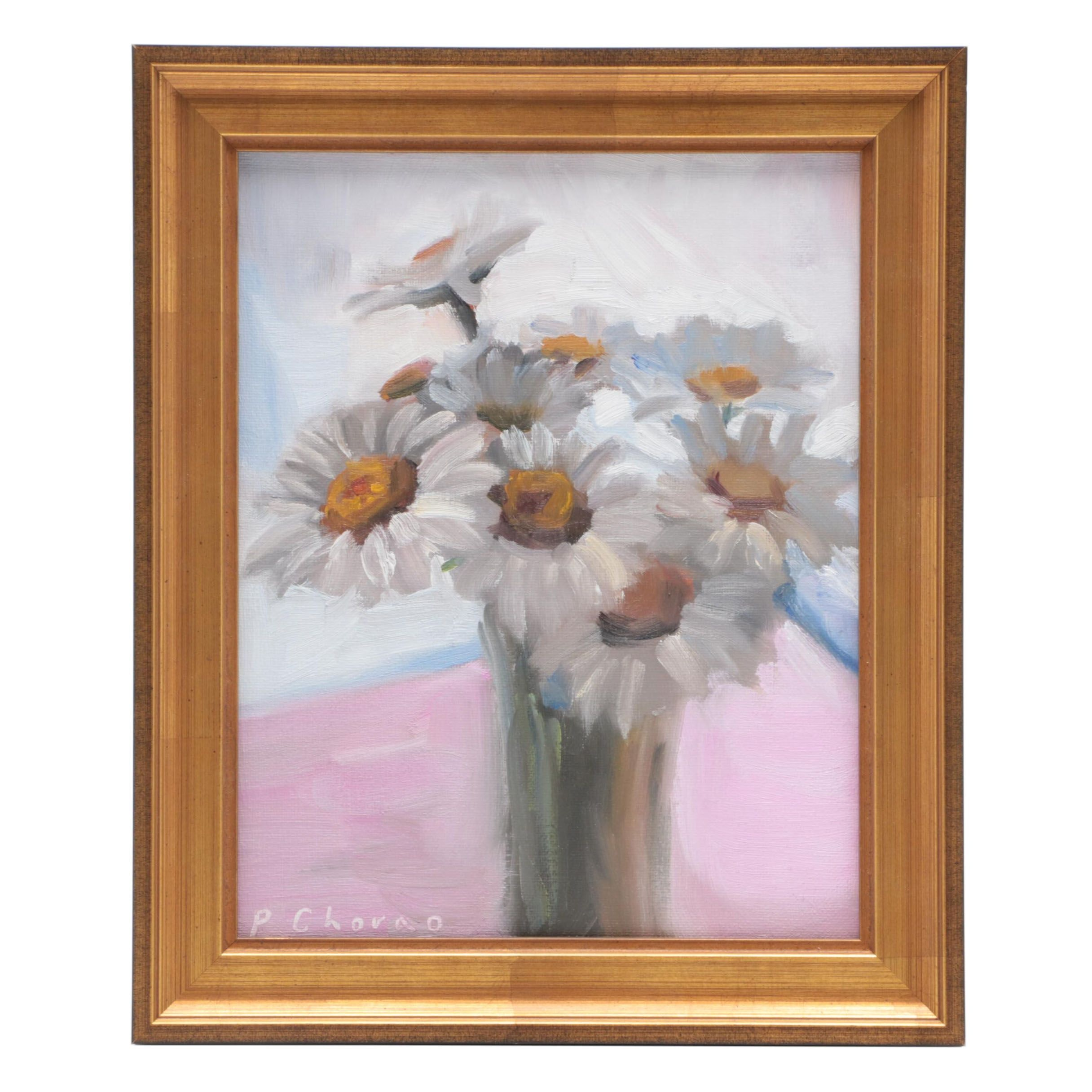 """Peter Chorao Oil Painting """"Daisy Bouquet"""""""