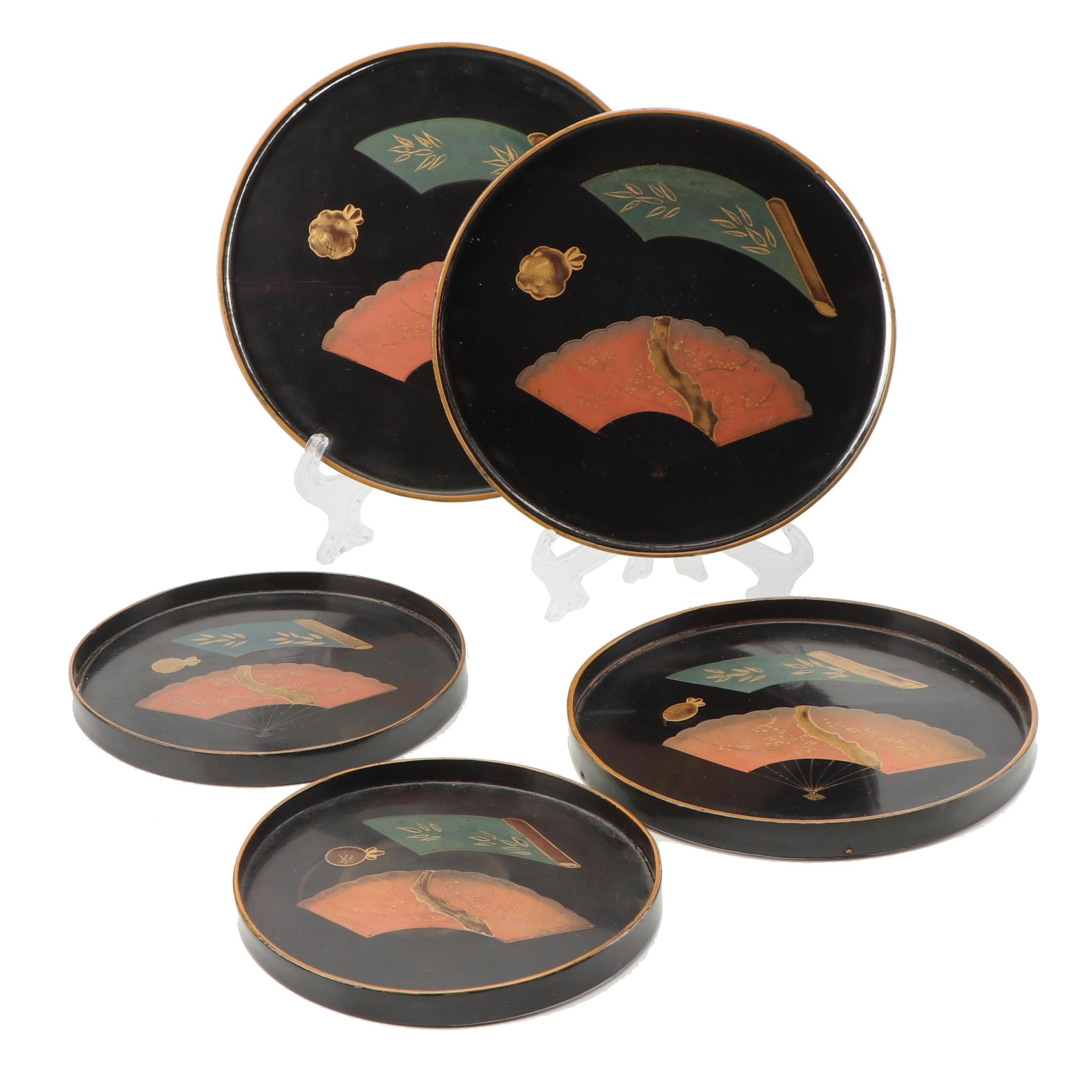 Chinese Hand-Painted Lacquer Nesting Trays, circa 1900