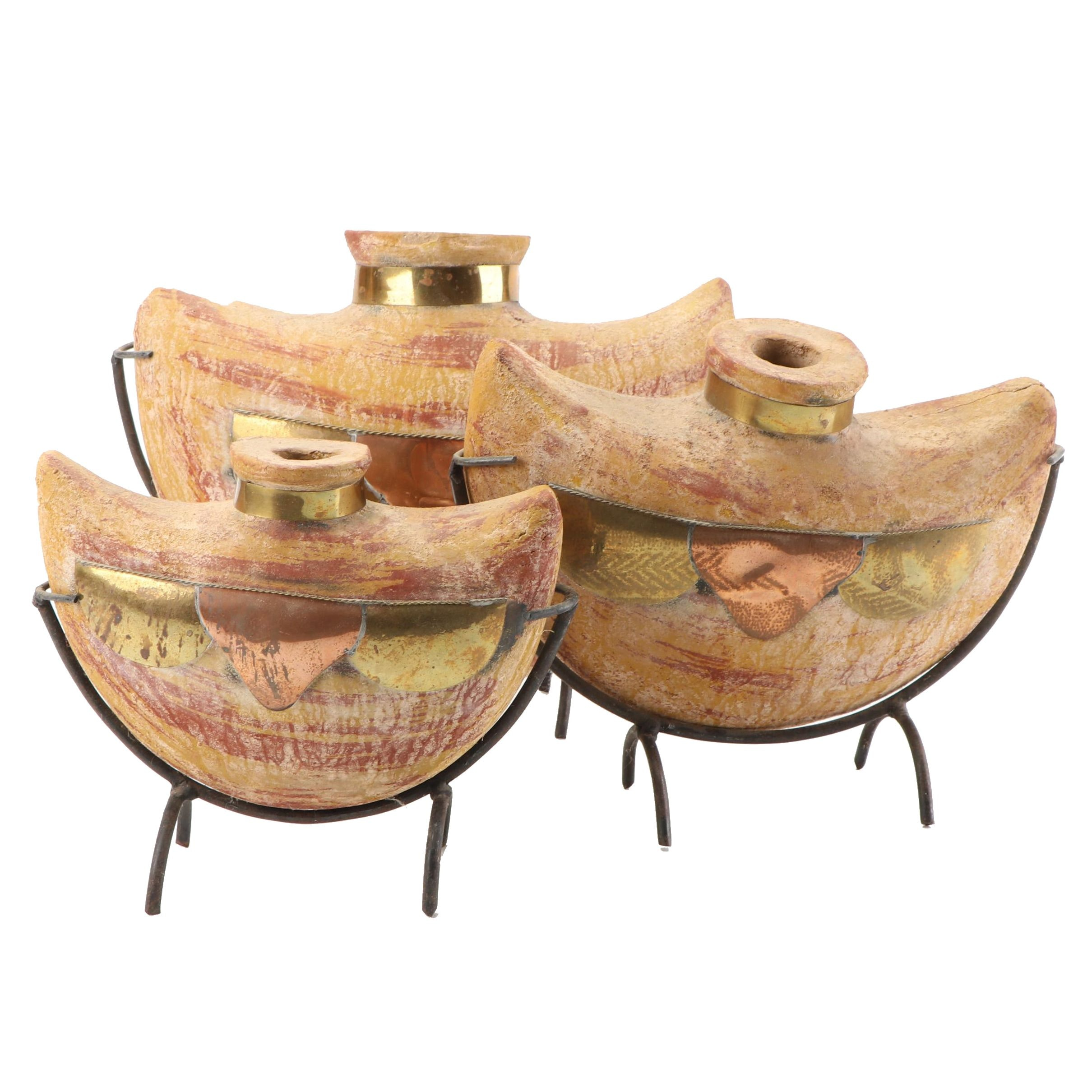 Earthenware Vases With Inlay Copper and Brass Plates on Stands, Contemporary