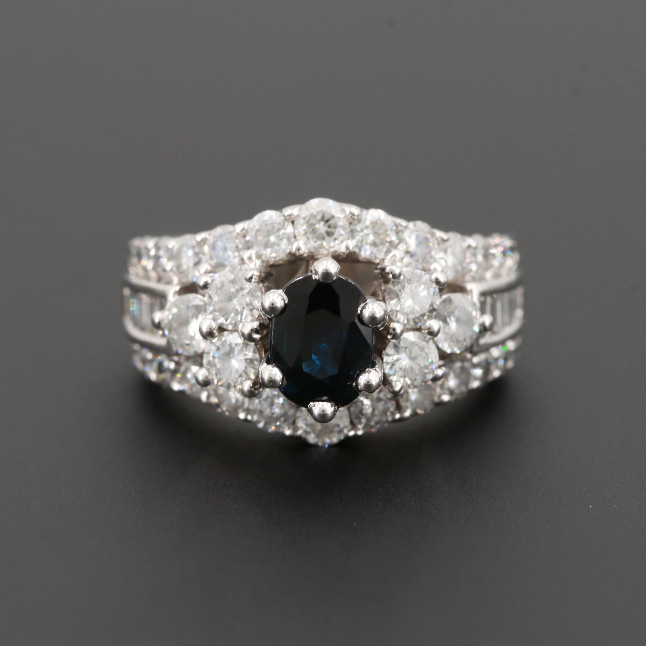 14K White Gold Blue Sapphire and 2.14 CTW Diamond Ring