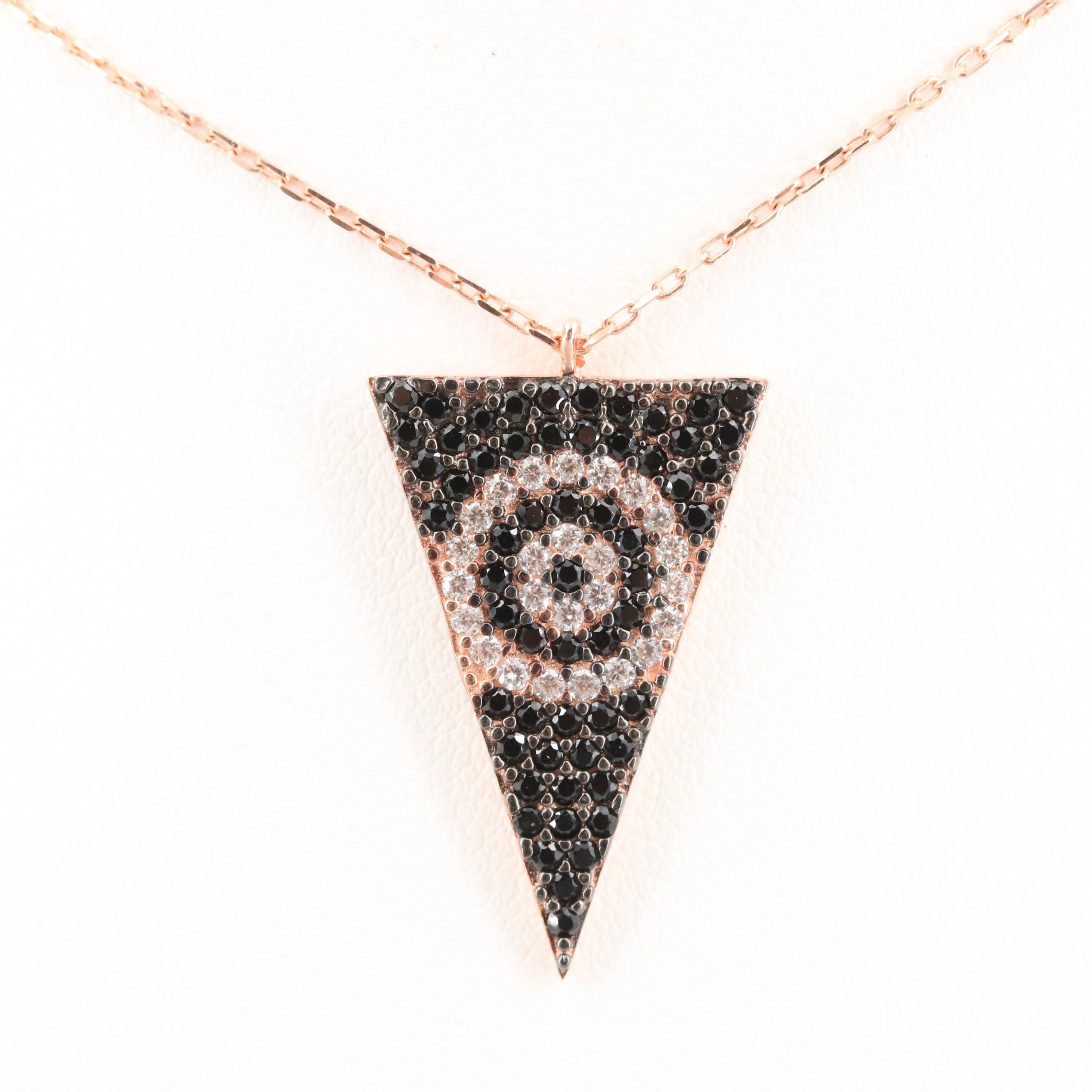 Rose Gold Wash on Sterling Silver Cubic Zirconia Evil Eye Necklace