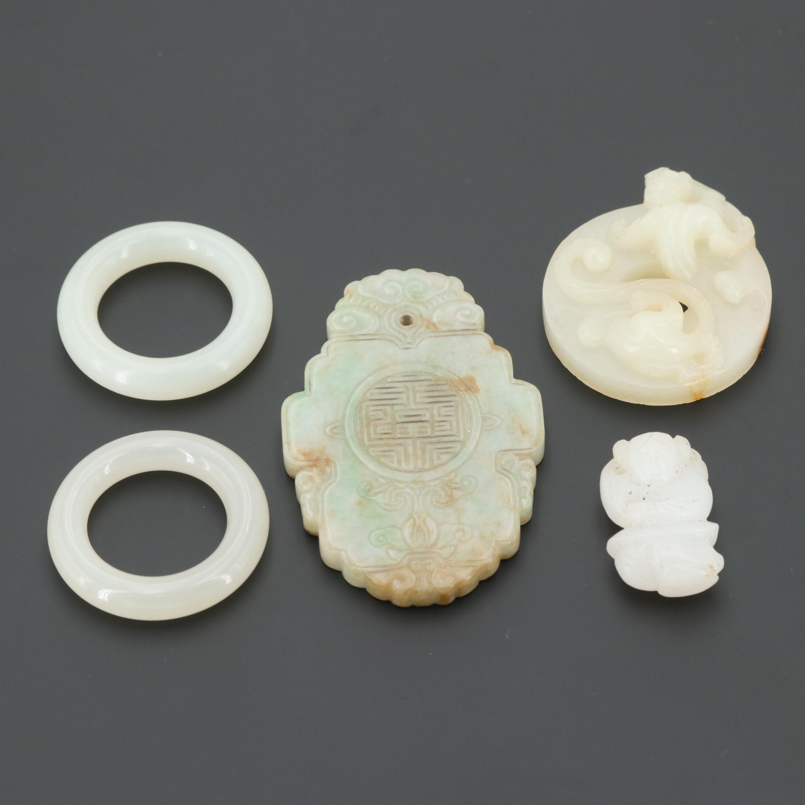 Jadeite and Nephrite Carved Pendants