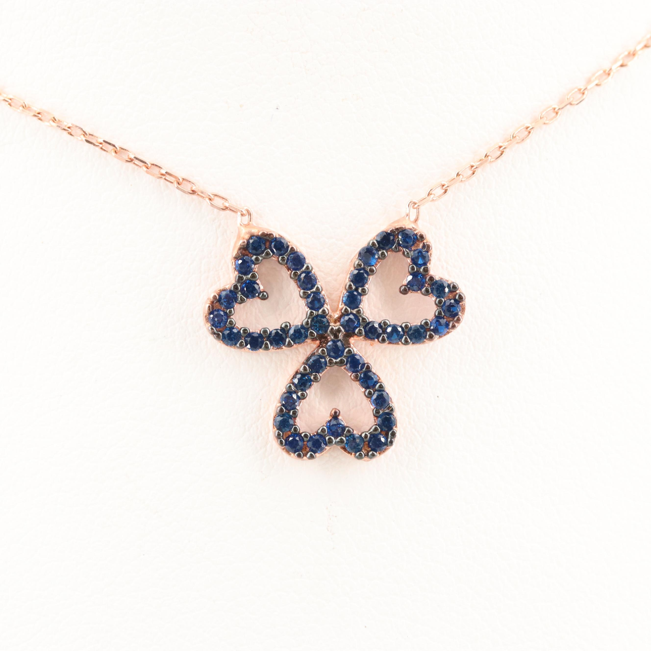 Rose Gold Wash on Sterling Silver Synthetic Spinel Triple Heart Necklace